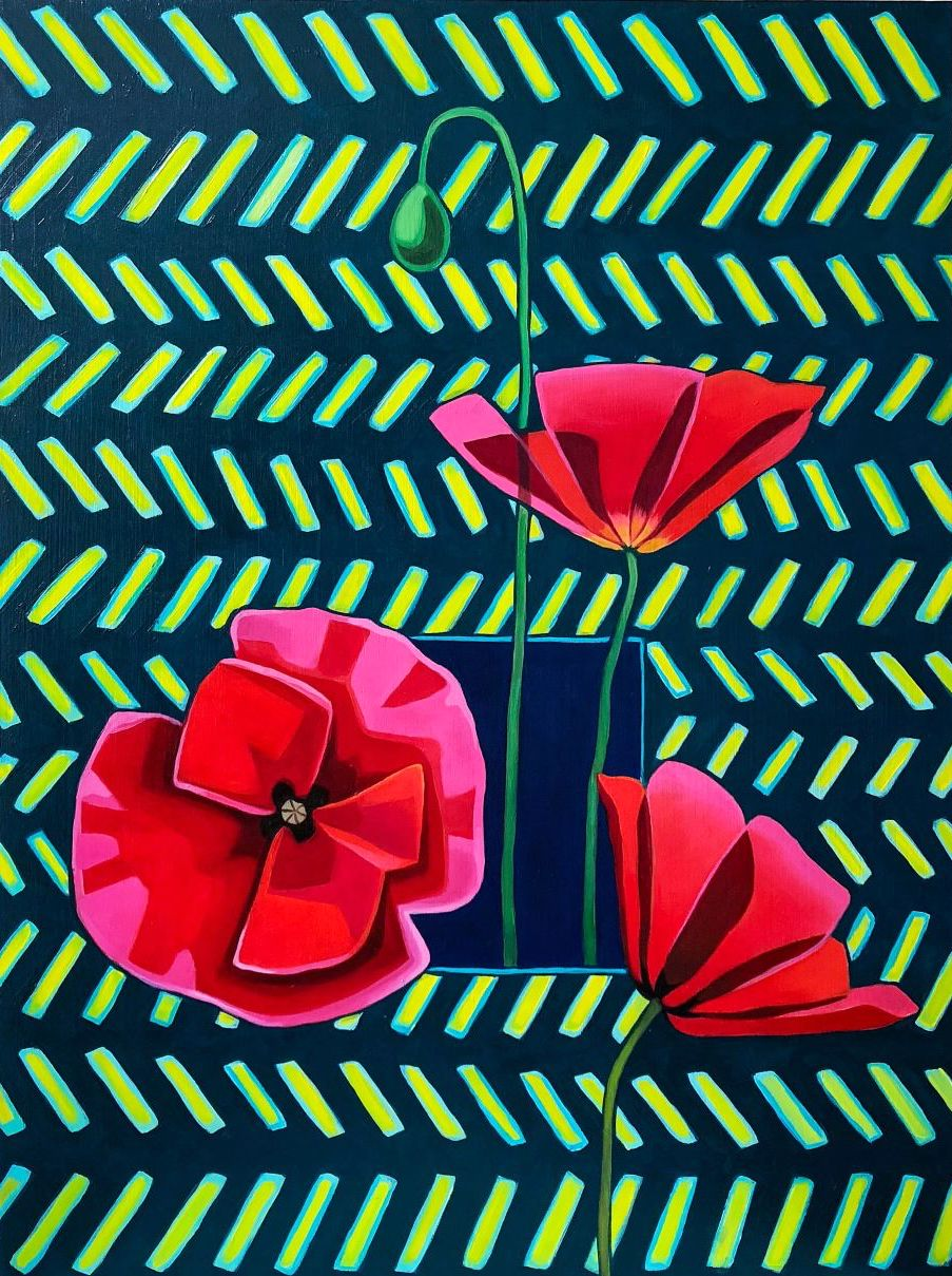 "Poppies and Pattern - 24"" x 18"" oil on wood panel $600"
