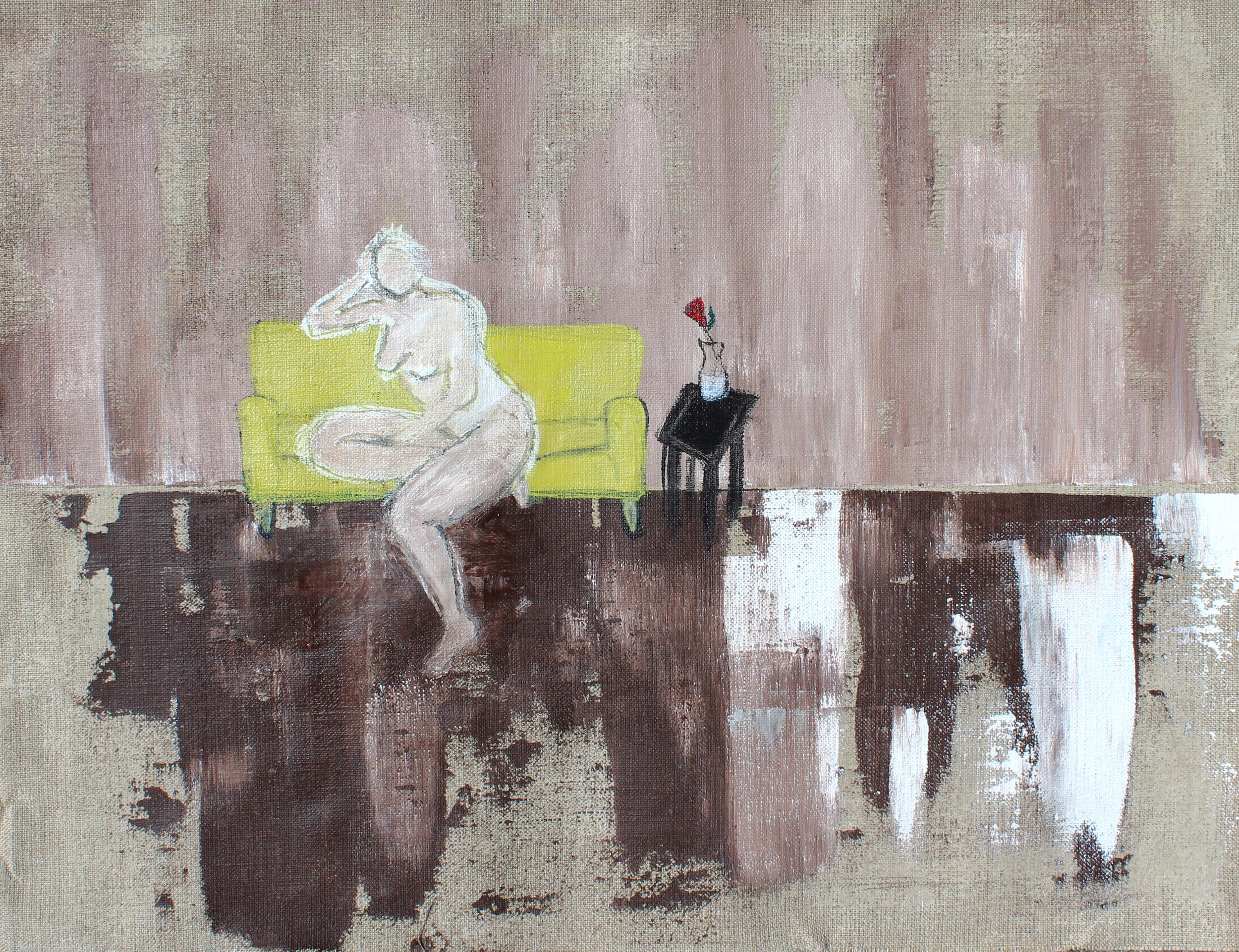 "Lady on Green Sofa - 18""x 25"" acrylic, ink and aqua oil on loose canvasSOLD"