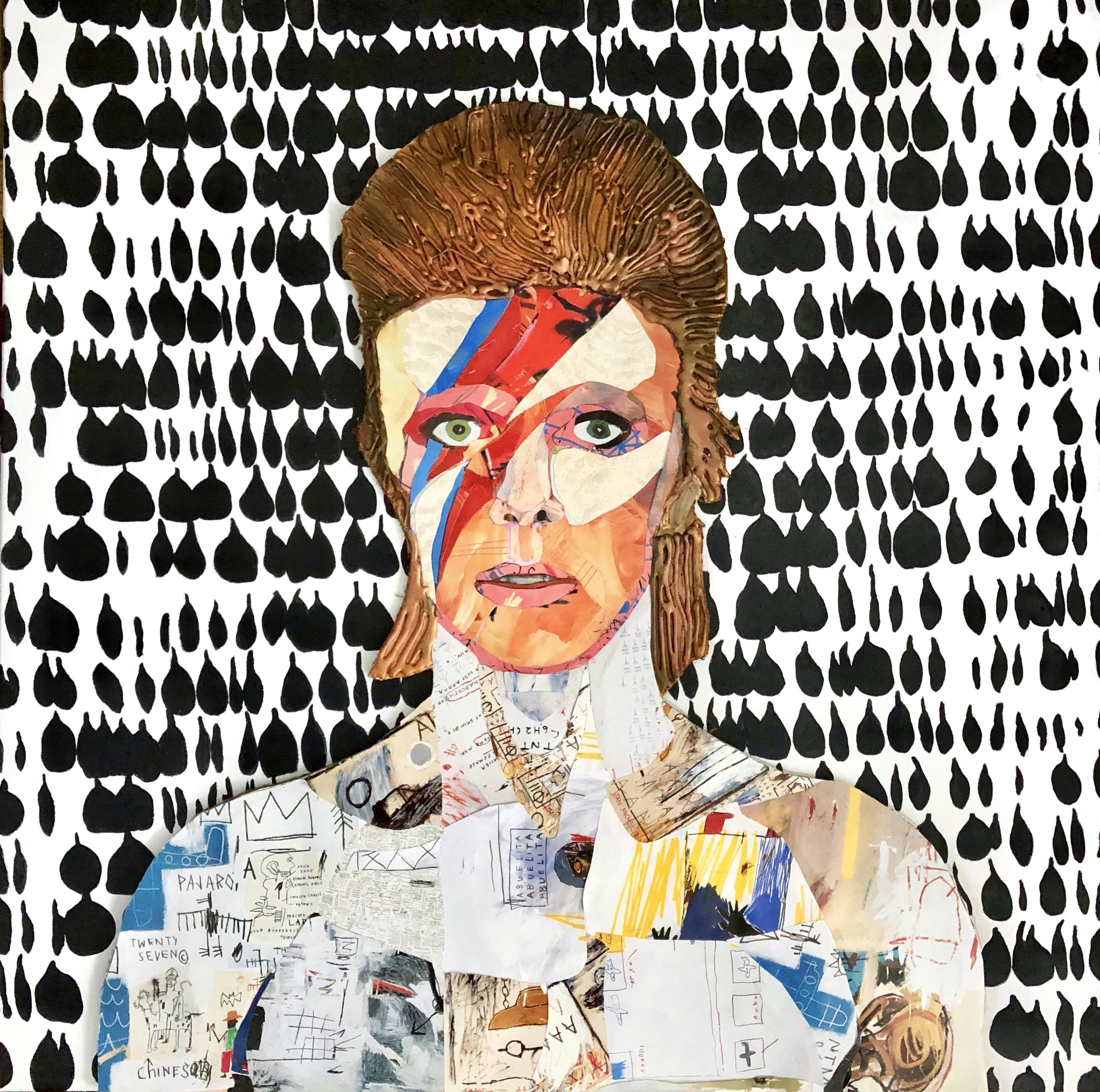 """Ziggy - 30"""" x 30""""Mixed media and resin on canvas$4500"""