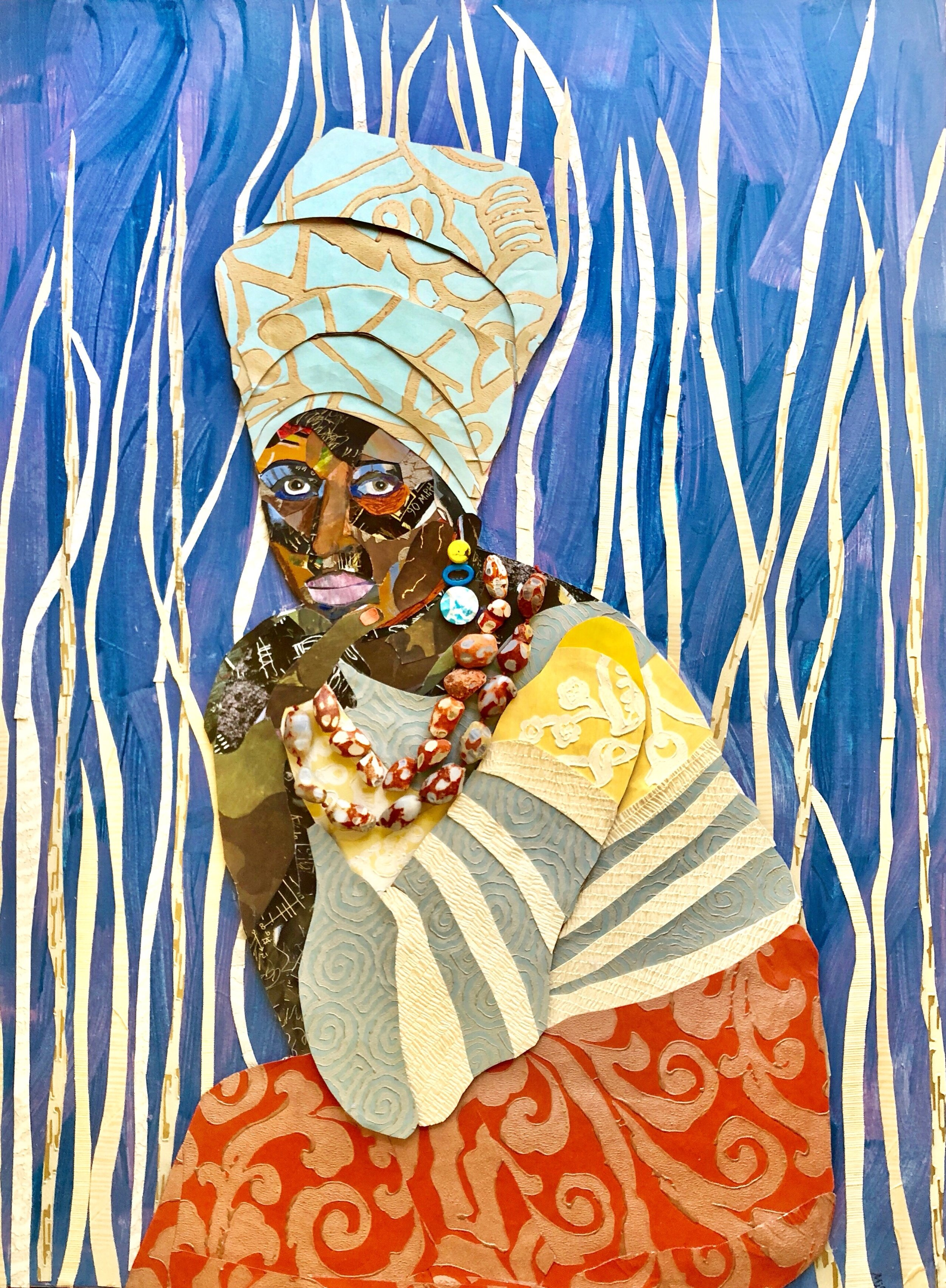"""Amahle  - 40"""" x 30"""" mixed media collage on panel, resinSOLD"""