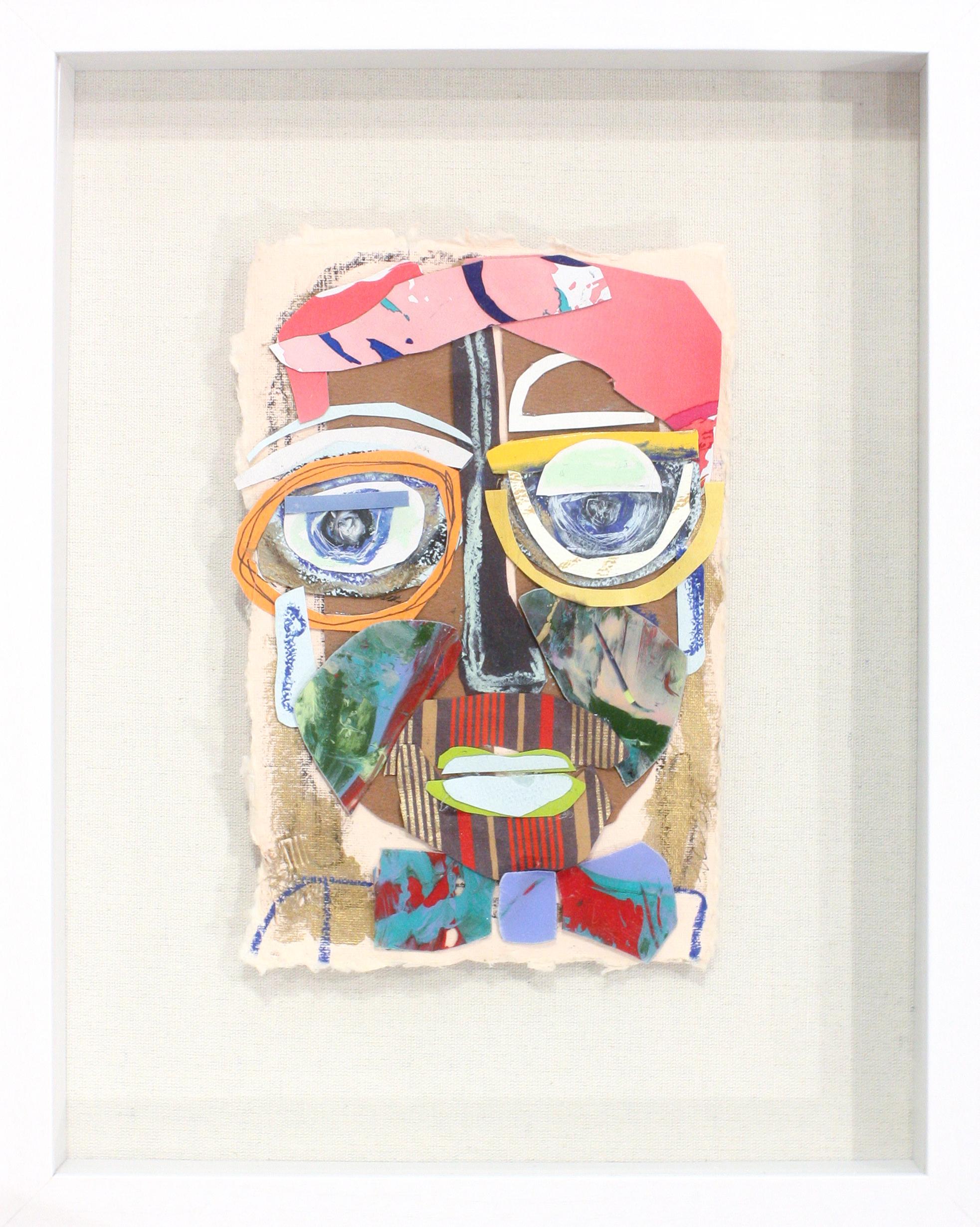 "Fredrick - 4"" x 6"" artwork, 11"" x 14"" frameMixed media, white shadowbox frameSOLD"
