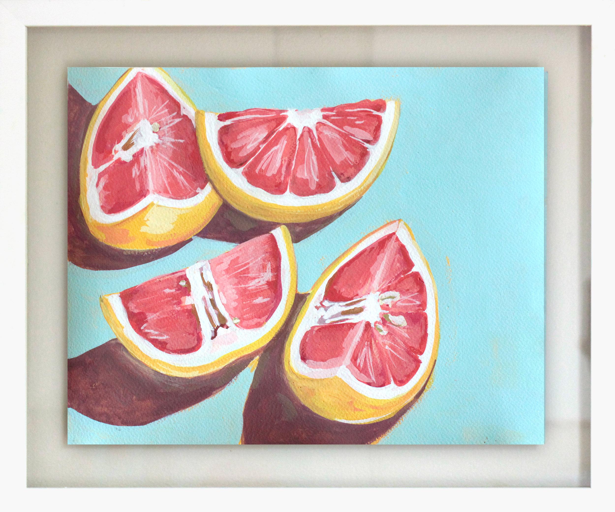 """Grapefruit + Tequila - 15.5"""" x 18.5"""" gouache on paper, framed$350"""