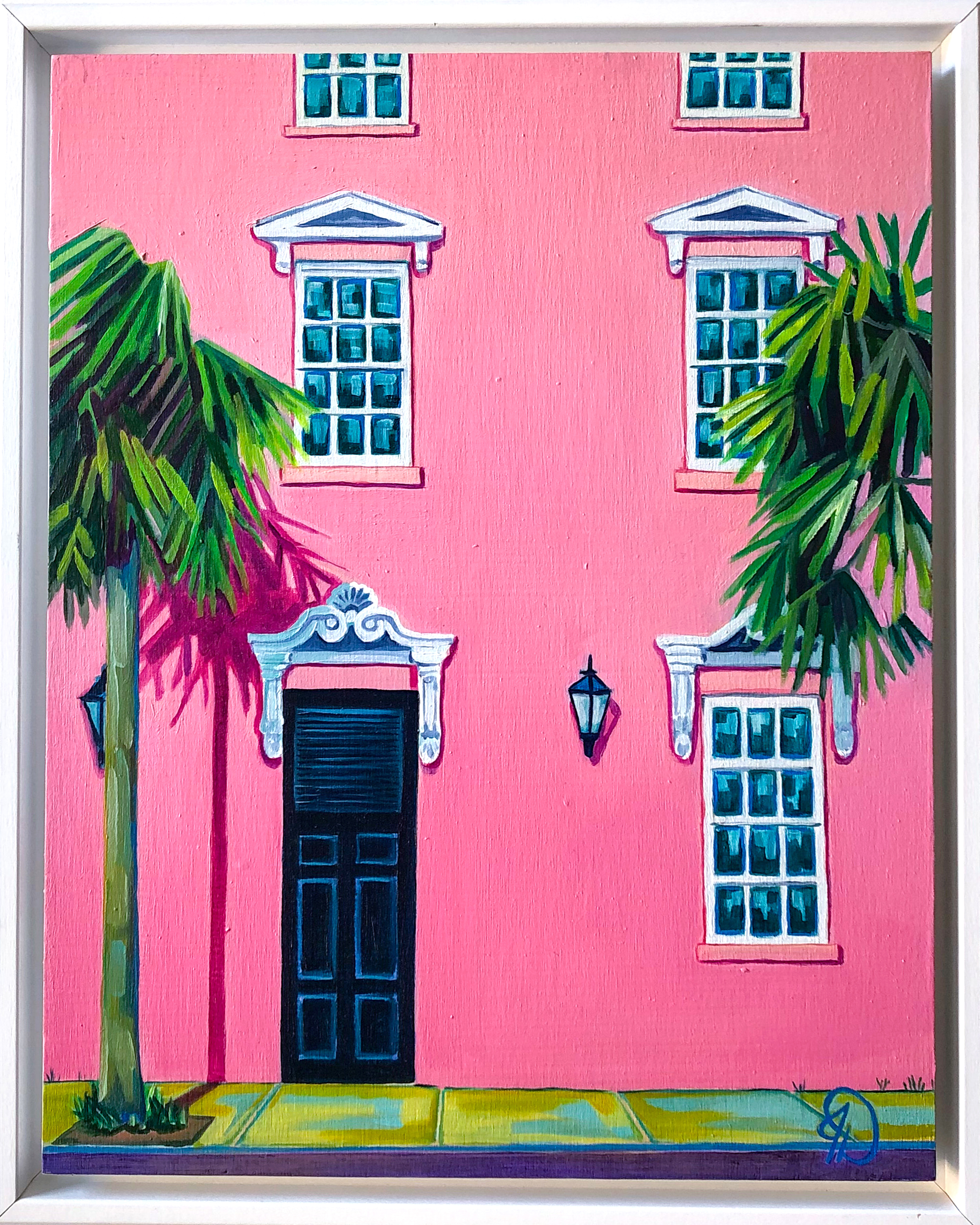 "Mills House Pink - 14"" x 11"" oil on panel, framedSOLD"