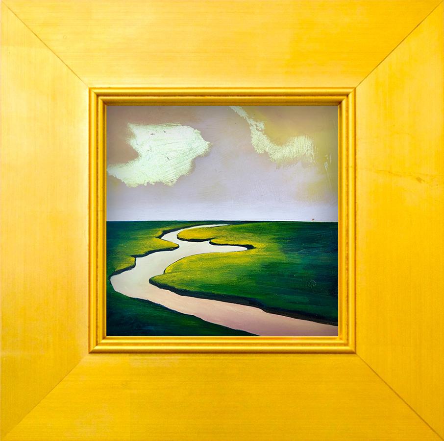 """Tiny Landscape I - 6"""" x 6"""" oil and gold leaf on panel, framed$500"""