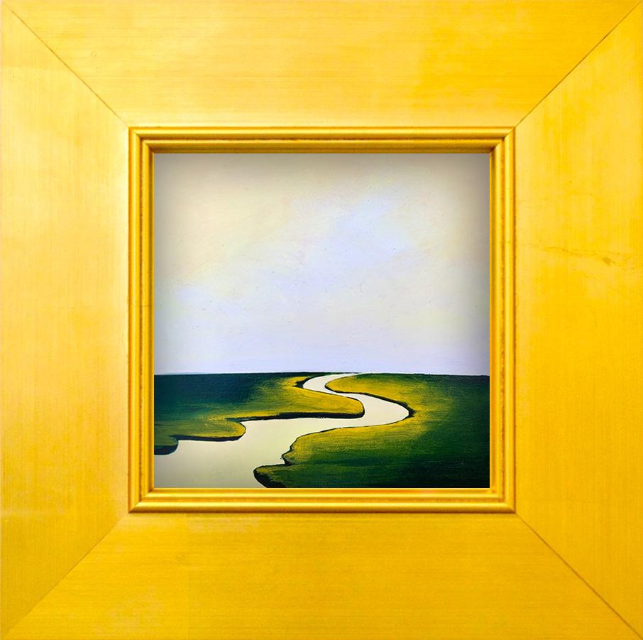 """Tiny Landscape II - 6"""" x 6"""" oil and gold leaf on panel, framed$500"""