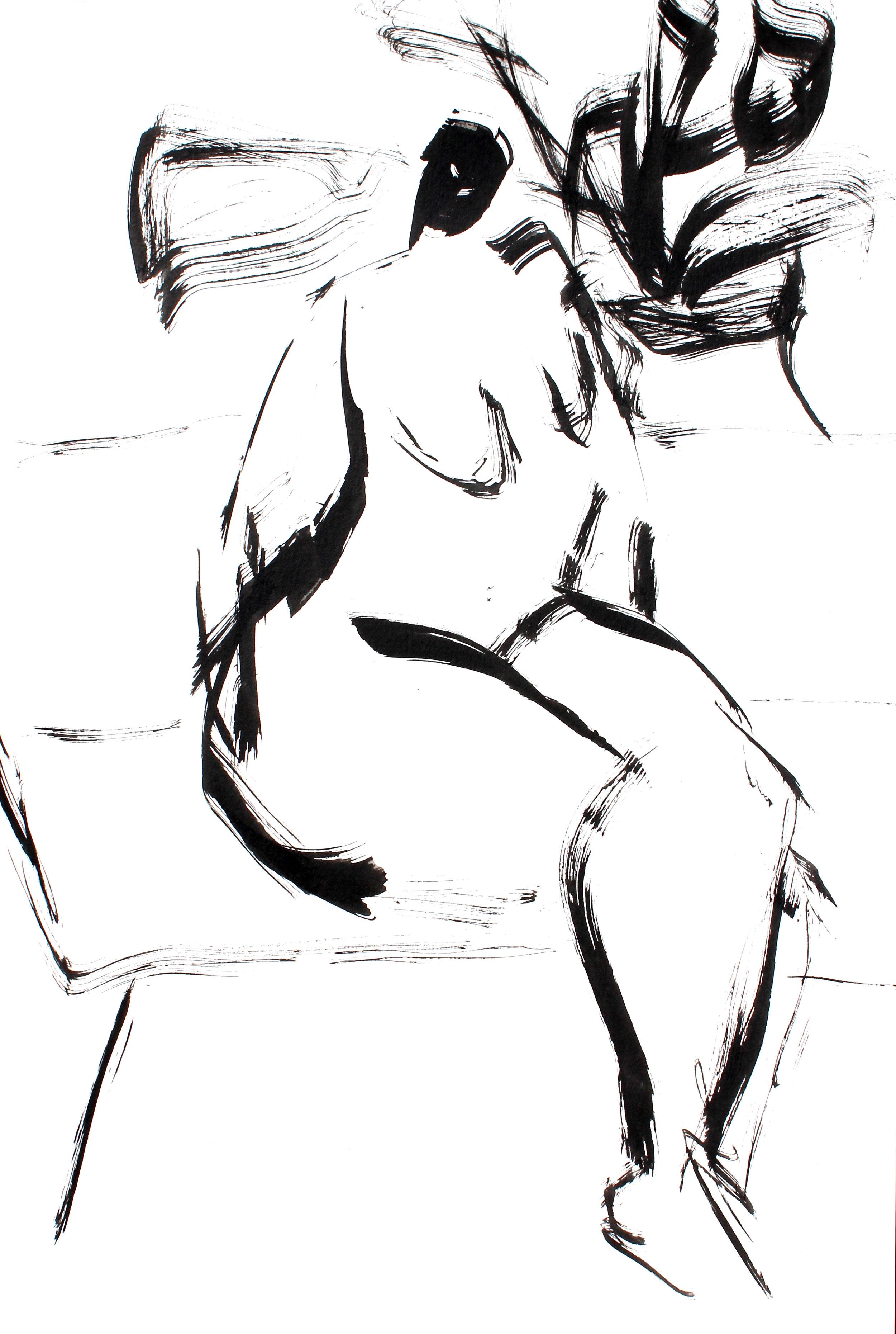"Twyla - 12"" x 18"" ink on paper $175"