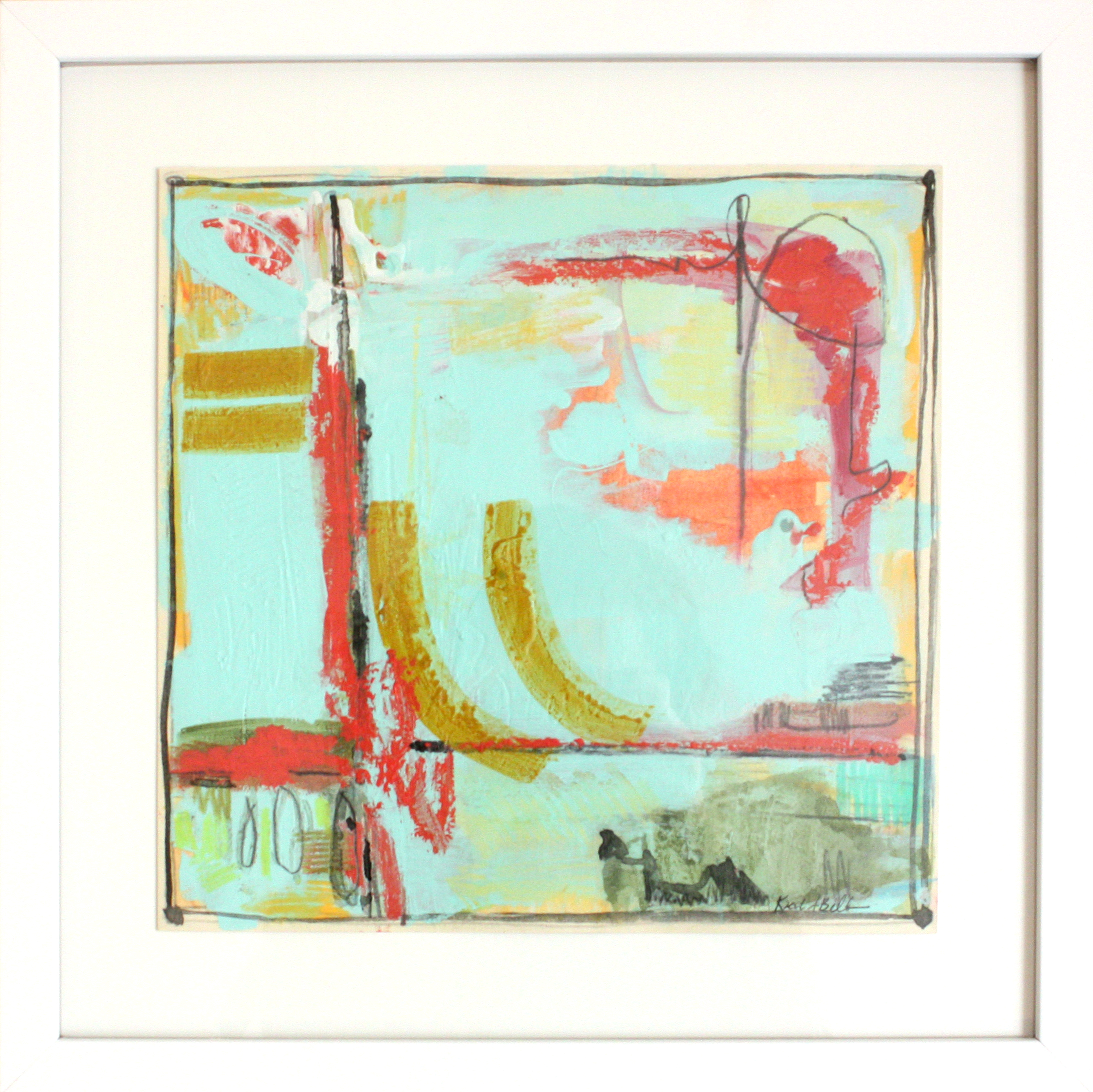 "Mint, Coral and Aqua 5 - 14.5"" x 14.5"" mixed media on board, framed$265"