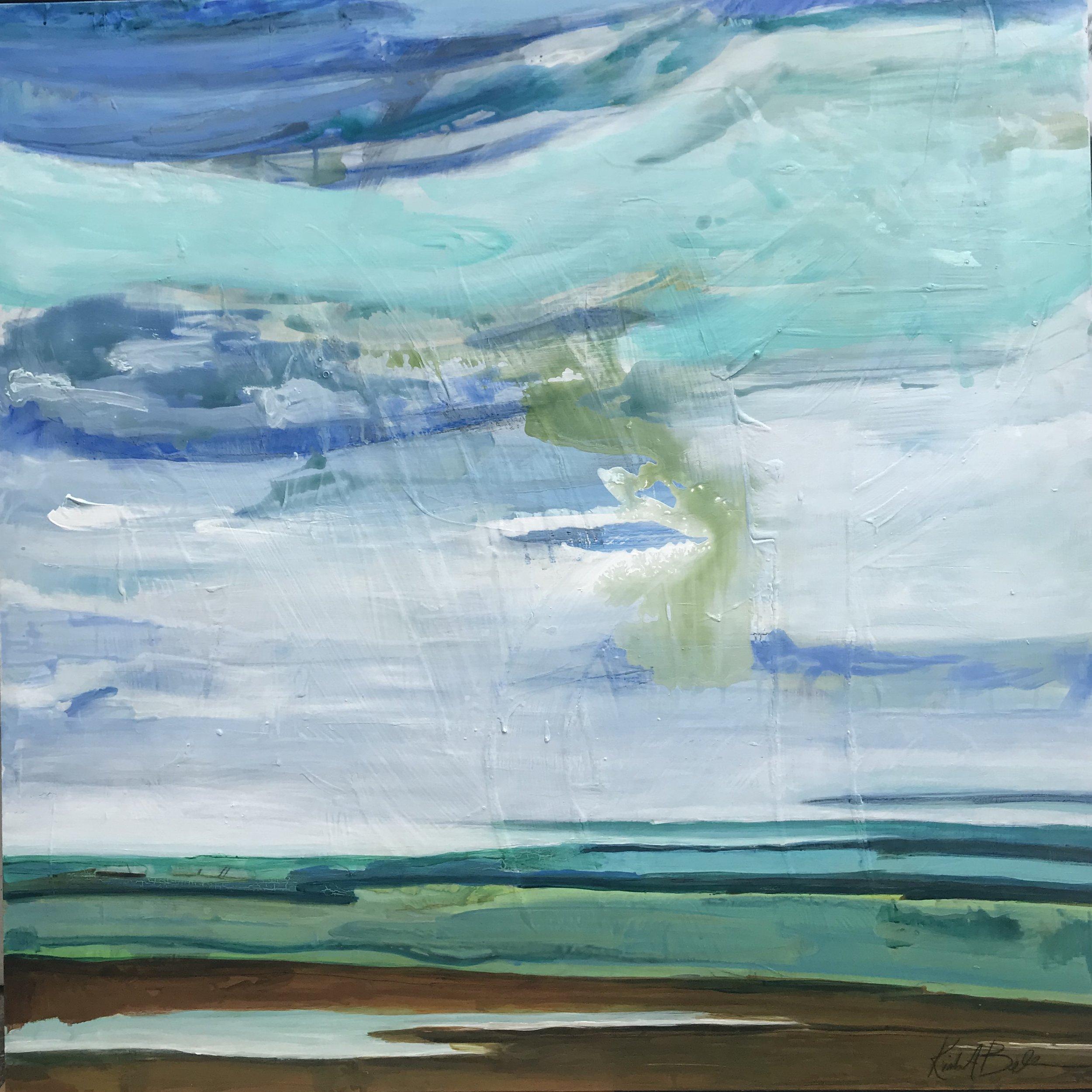 "Big Sky Series 5 - 42"" x 42"" mixed media on birchwood panel$1495"