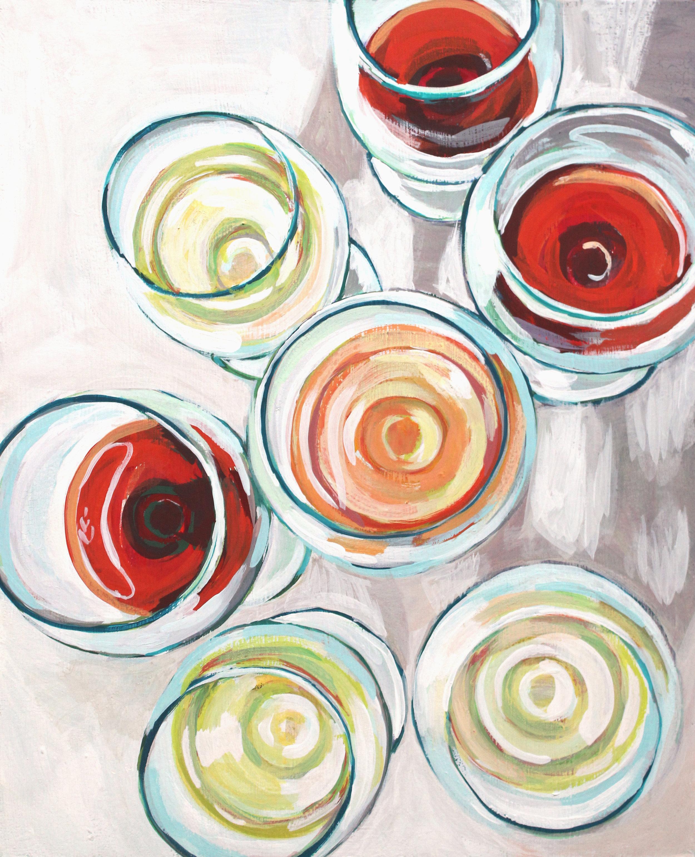 "Rose, Chardonnay & Gamay - 20"" x 16"" gouache on wood panel, framed$600"