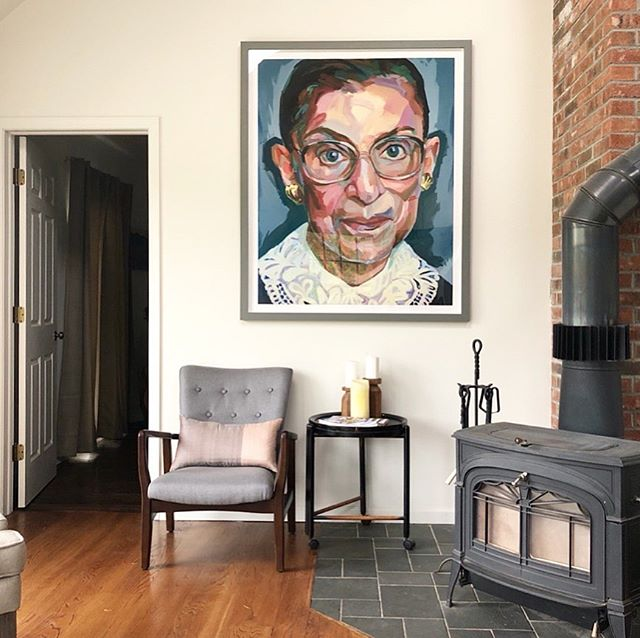 """Real change, enduring change, happens one step at a time."" - The Honorable Ruth Bader Ginsburg. . . . We have one signed, limited edition, archival print by @johayartist available. DM or email inquiries."