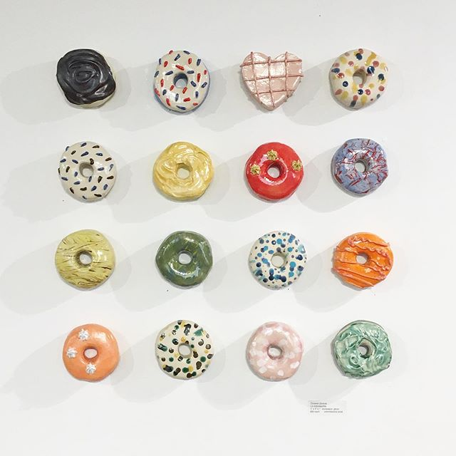 Hope you all have a wonderful weekend! We're open 10-6 Saturday and 11-5 on Sunday. New art arriving daily ✨ This 🍩 grid by @surface_ceramics is available ❣️