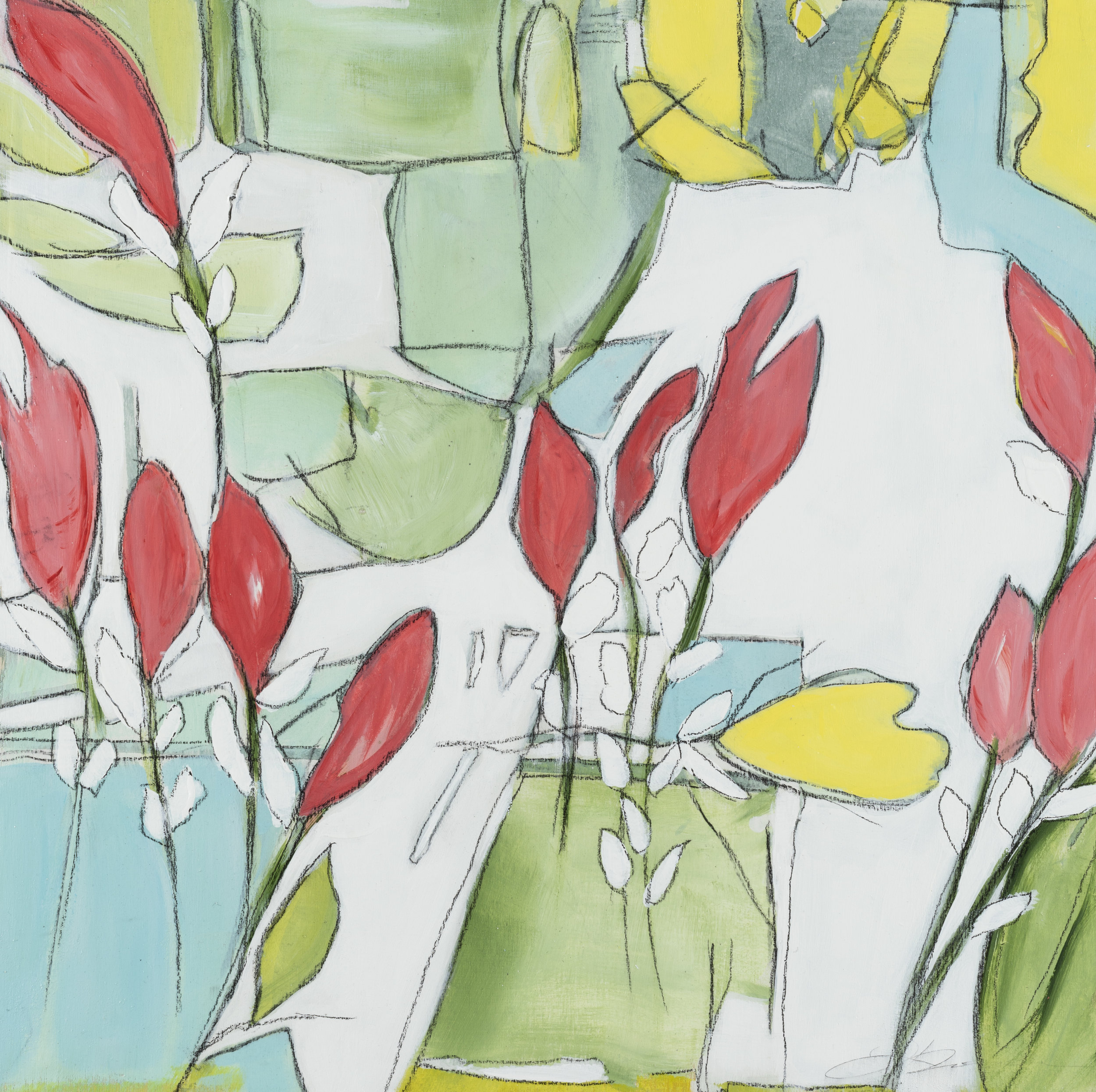 "Terrace Garden - 17.5"" x 17.5"" x 1""Acrylic, pastel, panel, framed$400"