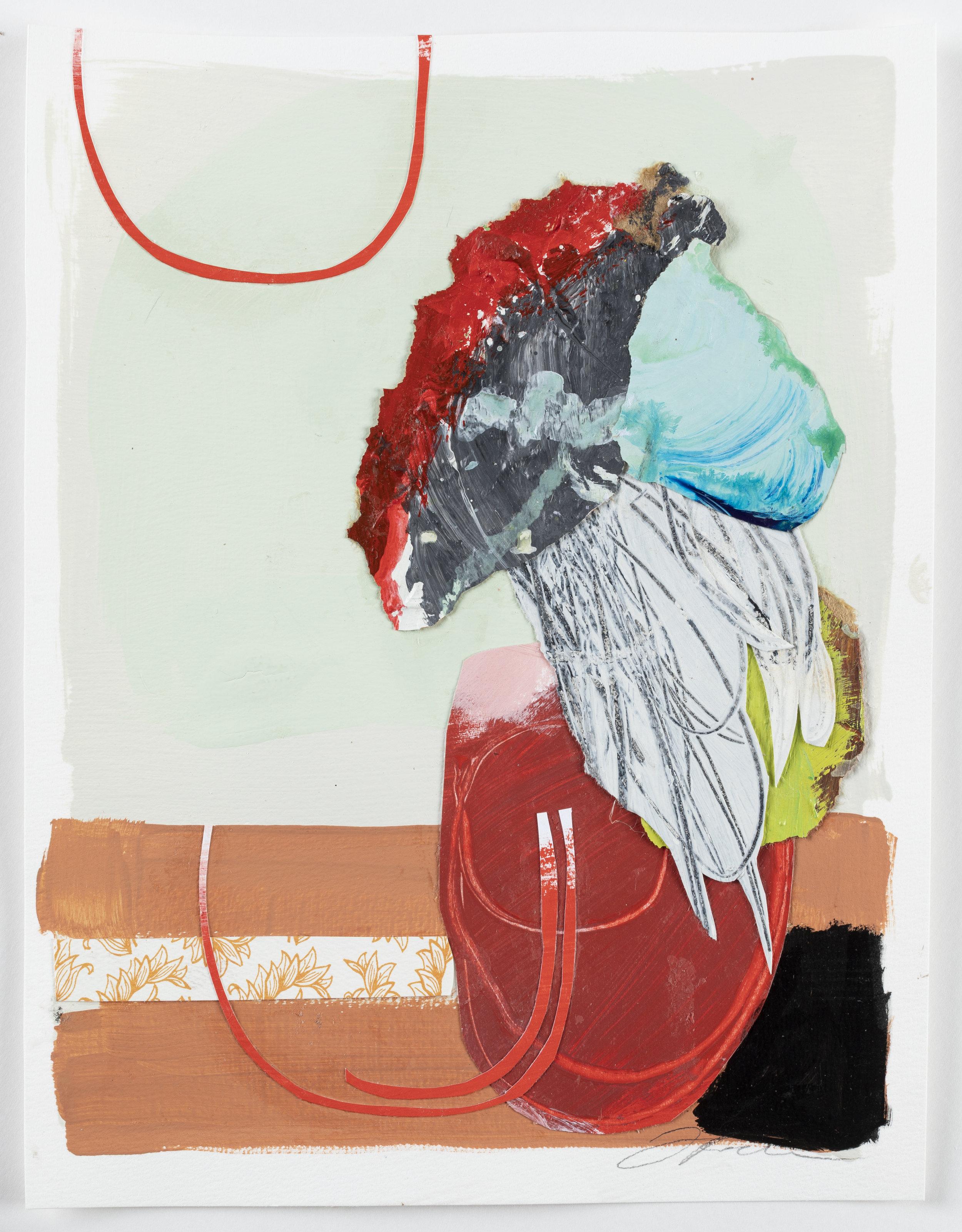"""Floral Series 5 - 14"""" x 11"""" x 1/4"""" Paint, paper, paste, mattedSOLD"""