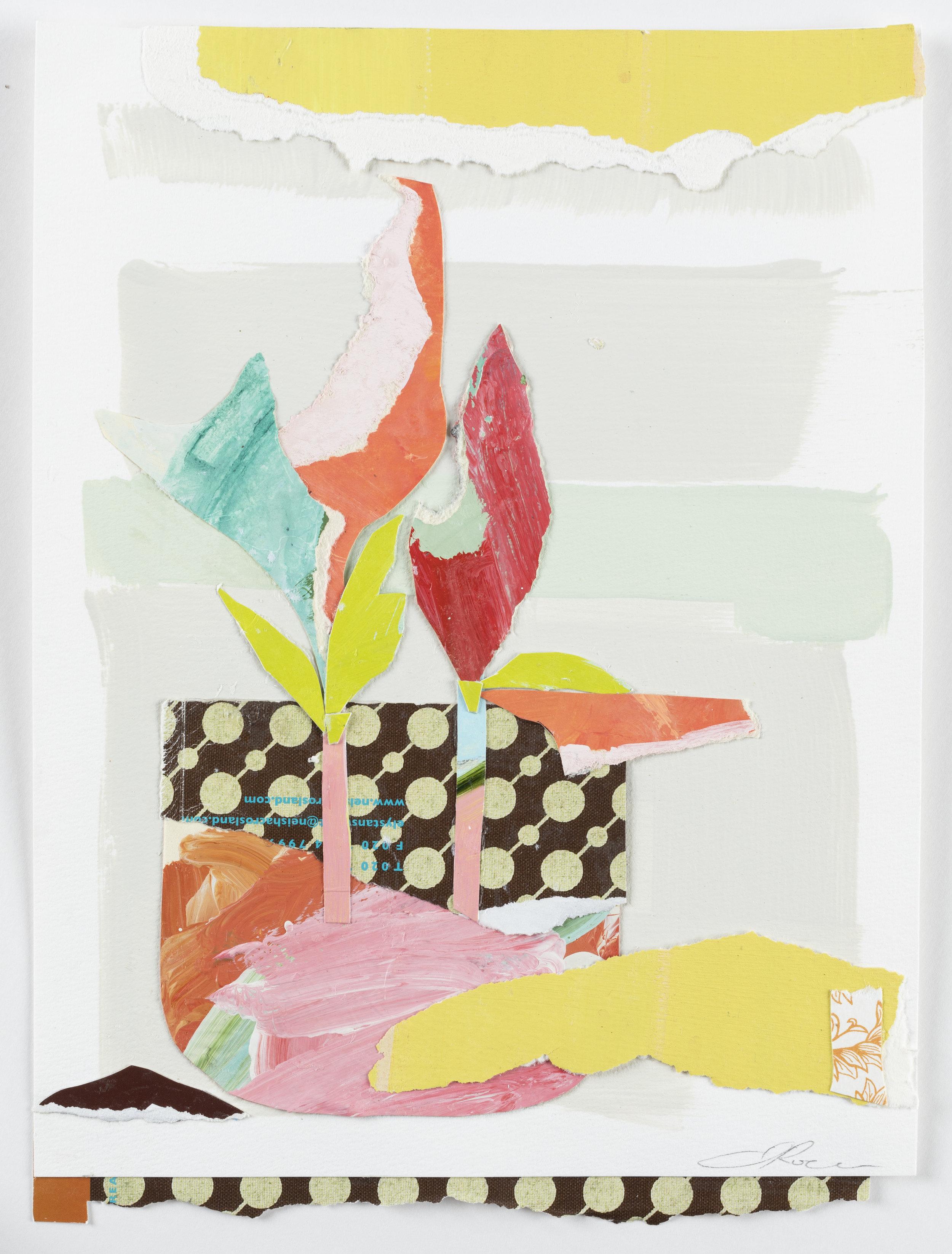 """Floral Series 7 - 14"""" x 11"""" x 1/4"""" Paint, paper, paste, mattedSOLD"""