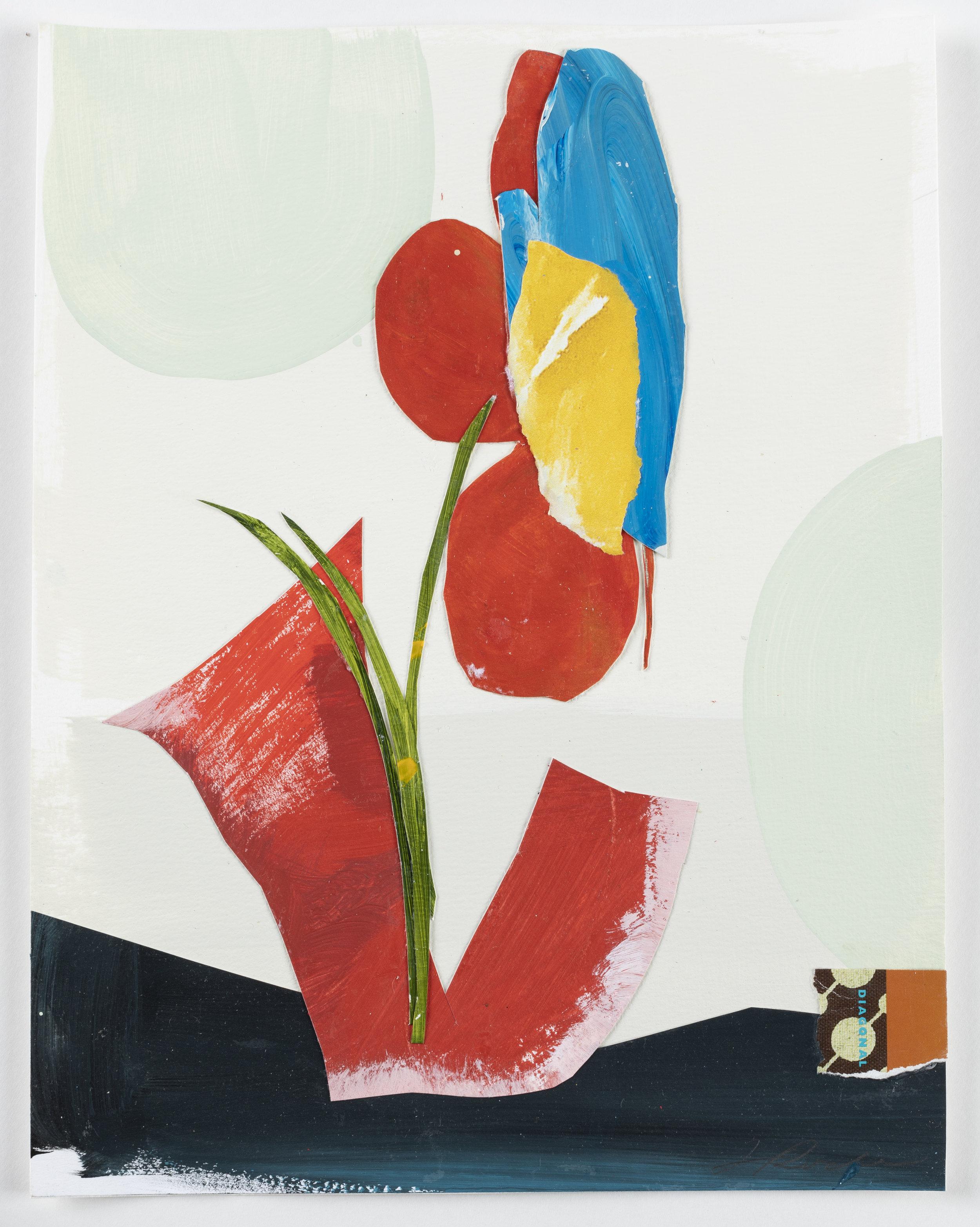 """Floral Series 10 - 14"""" x 11"""" x 1/4"""" Paint, paper, paste, mattedSOLD"""