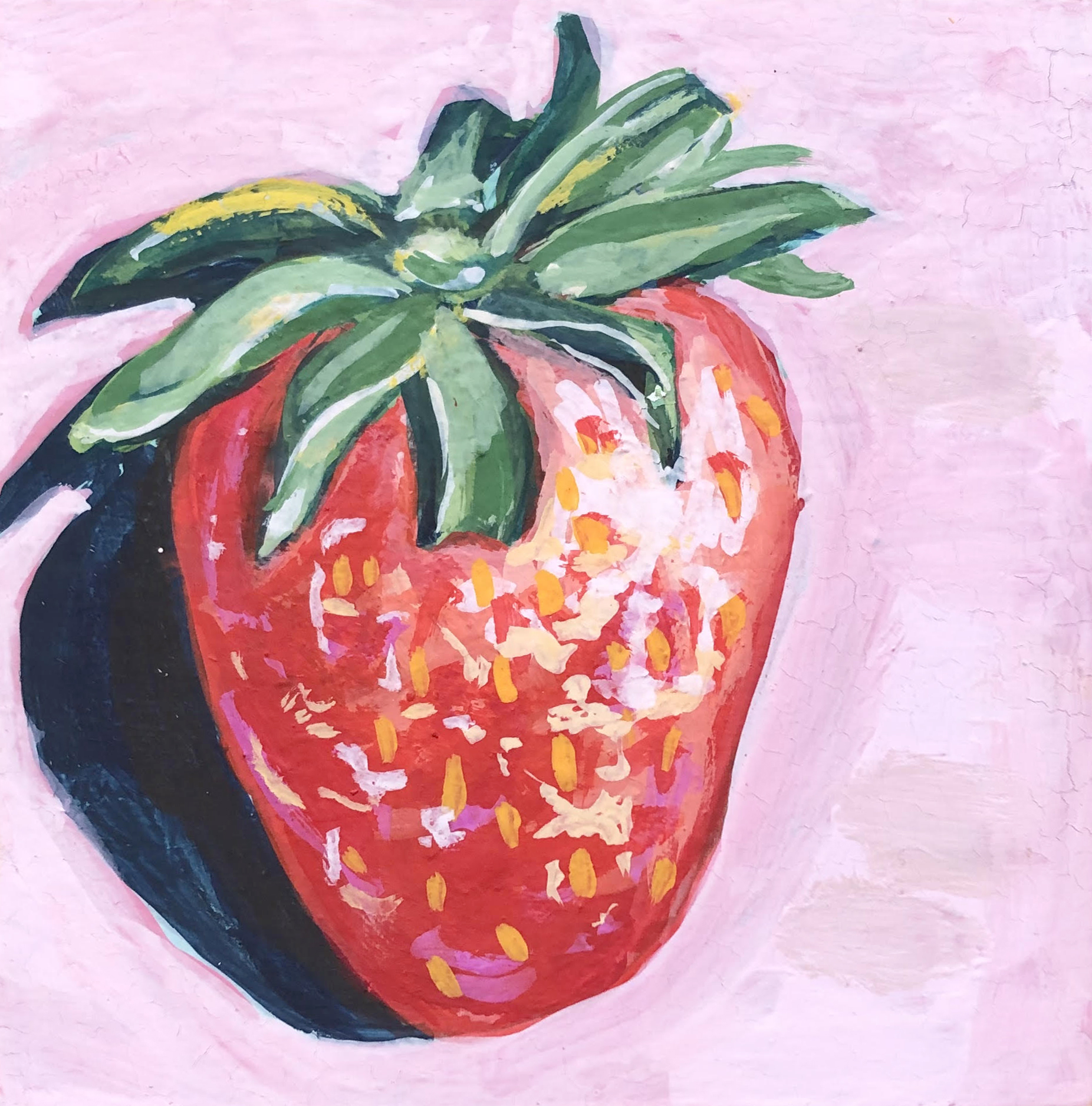 "Berry I - 4"" x 4"" gouache on panel$95"