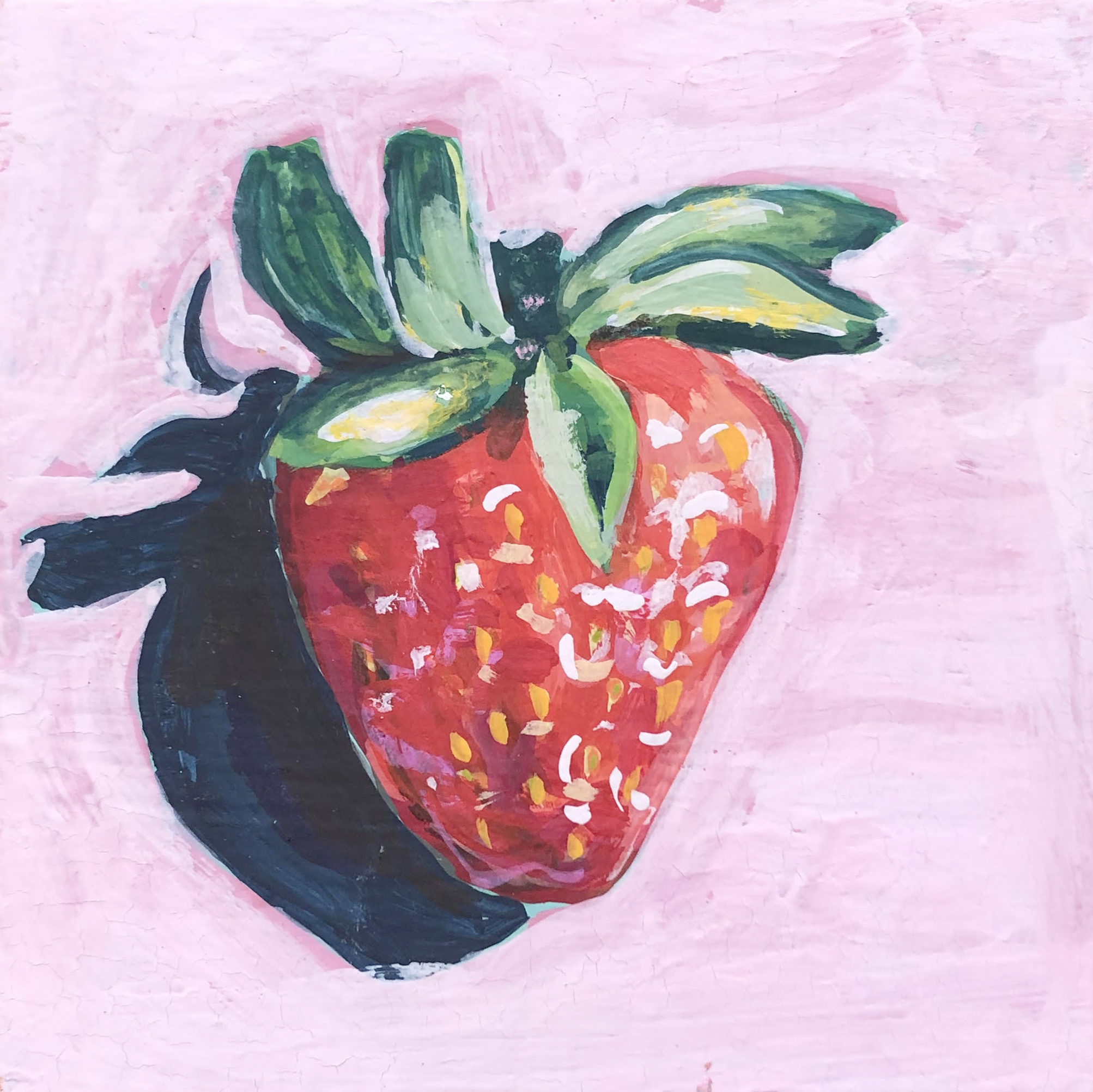 "Berry II - 4"" x 4"" gouache on panel$95"