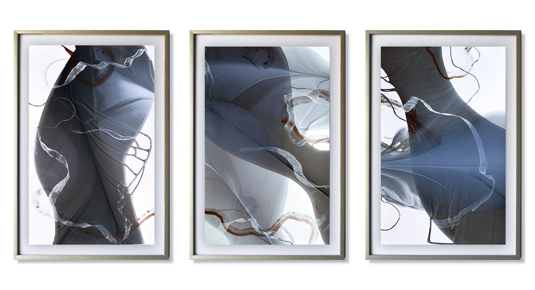 """Movement Study in Copper and Silver 37"""" x 72"""" (framed) water media, silver leaf, pastel on paper $2700"""