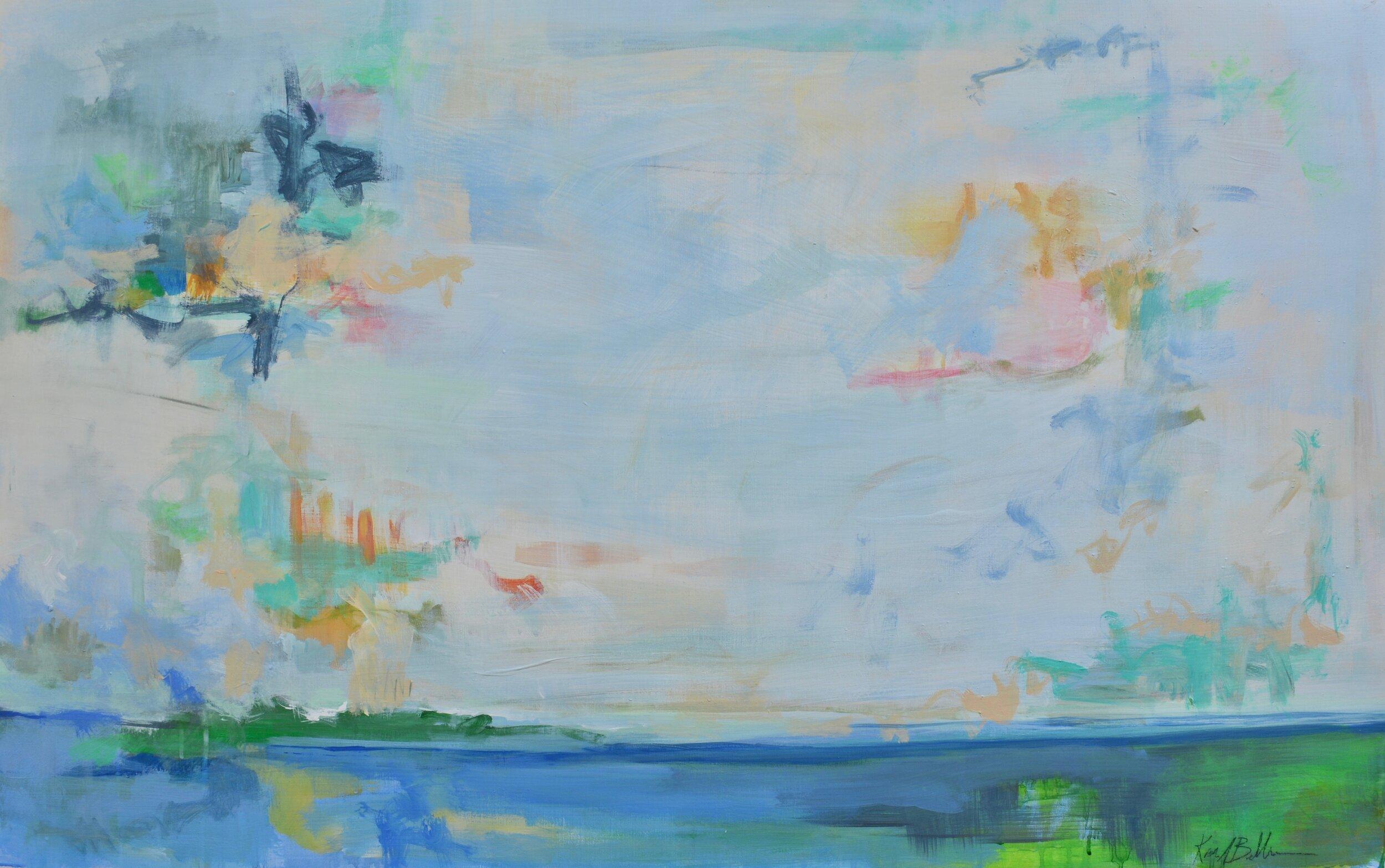 "Blue Horizon 1 - 48"" x 30"" mixed media on panel$1200"