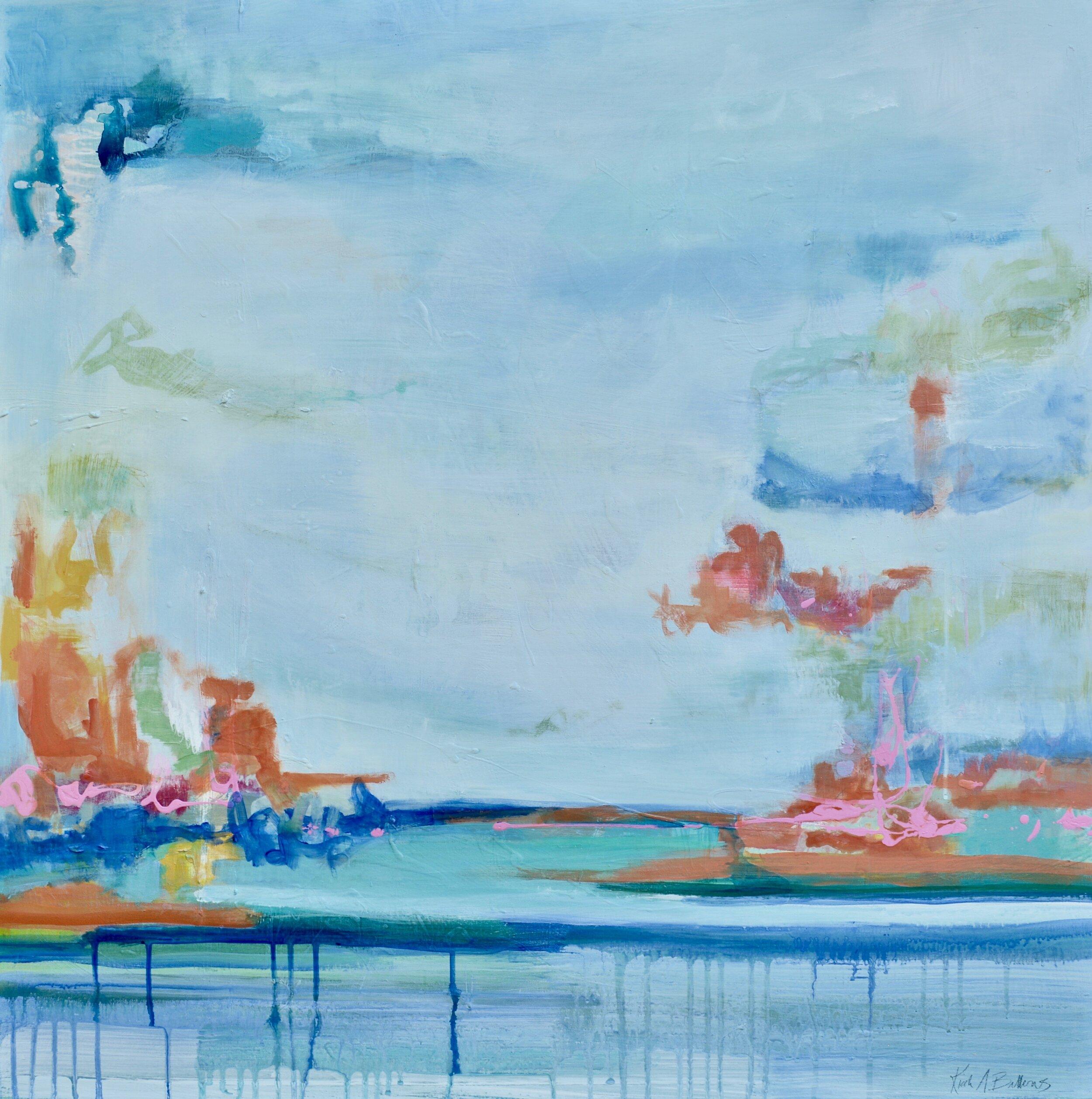 "Blue Horizon 3 - 36"" x 36"" mixed media on panel$1175"