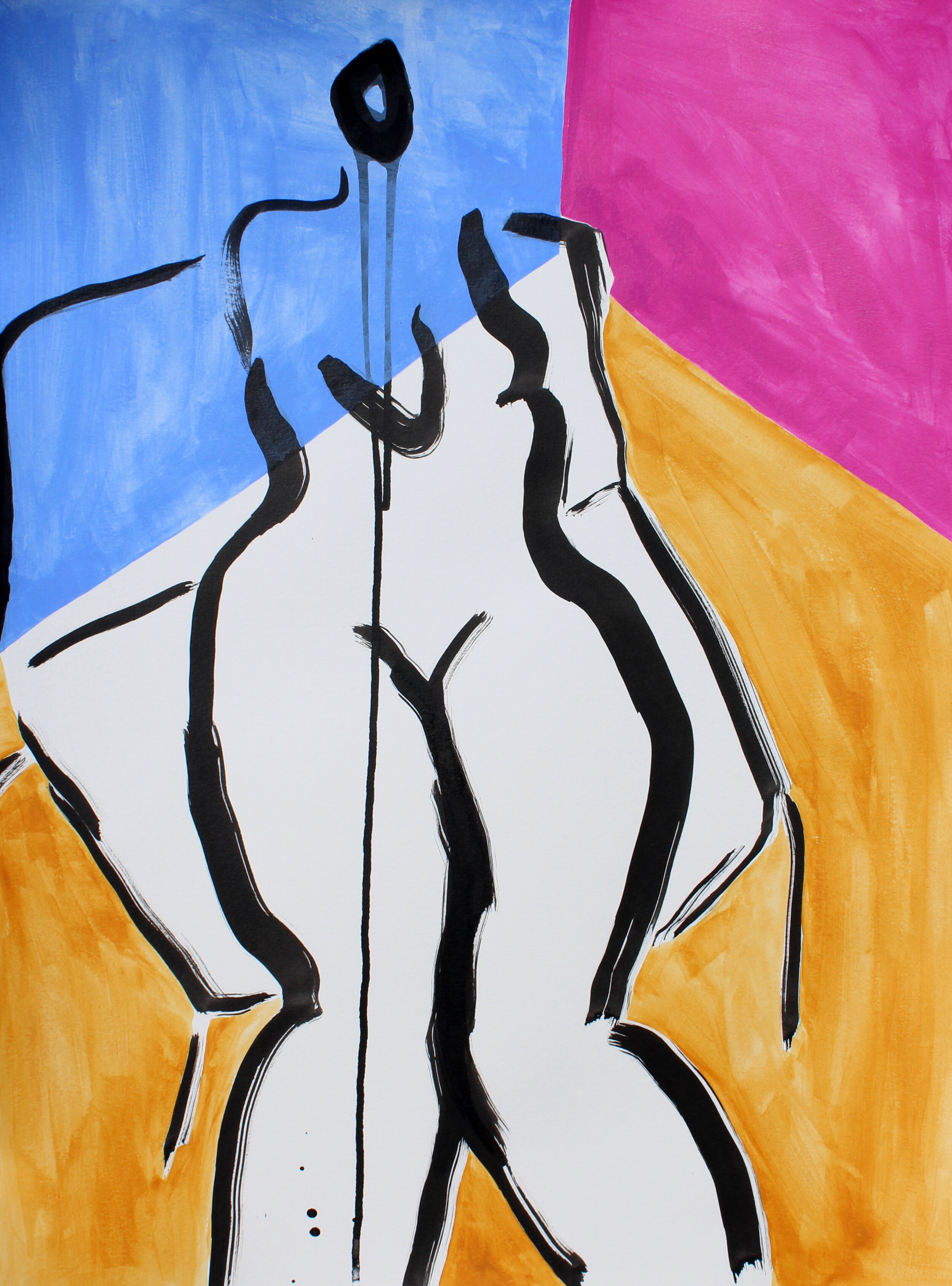 """Lady in Color 4 - 24"""" x 18"""" acrylic and ink on paper$500"""
