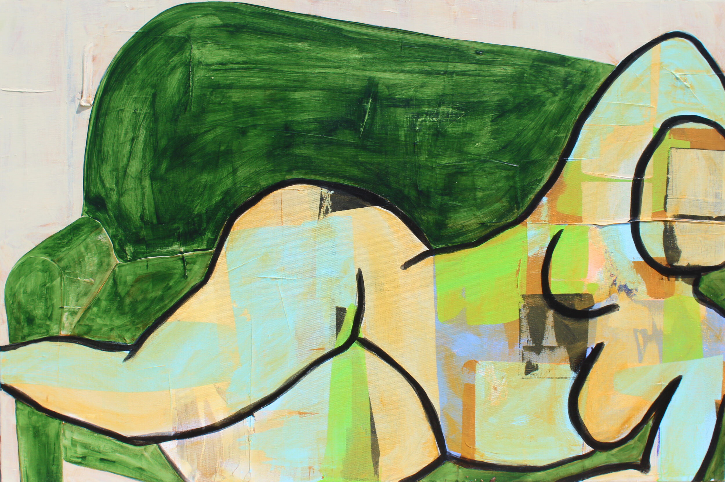 "Green Velvet - 24"" x 36"" acrylic and charcoal on canvas$1650"