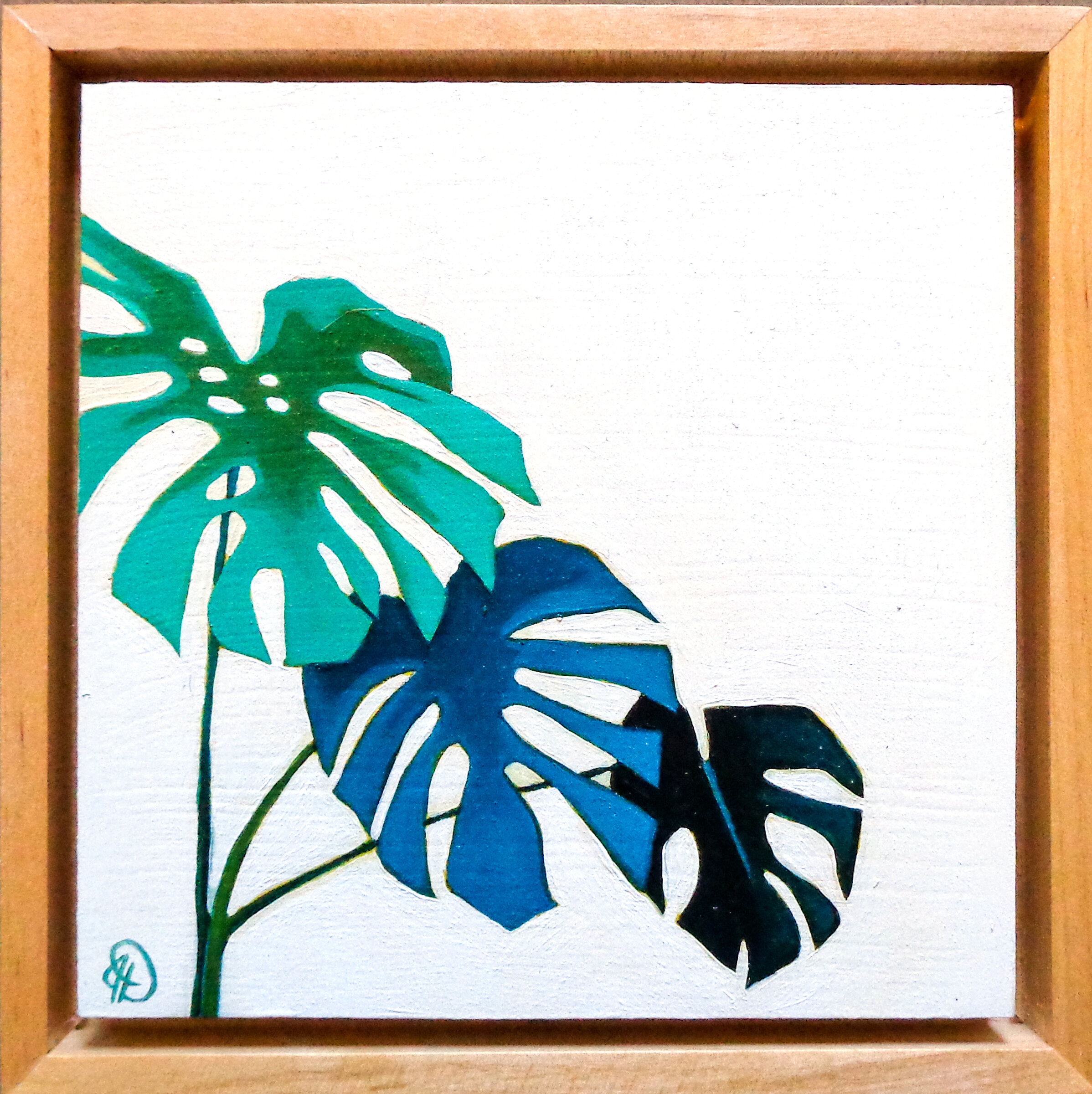 "Monstera Study - 6"" x 6"" oil on panel, framedSOLD"
