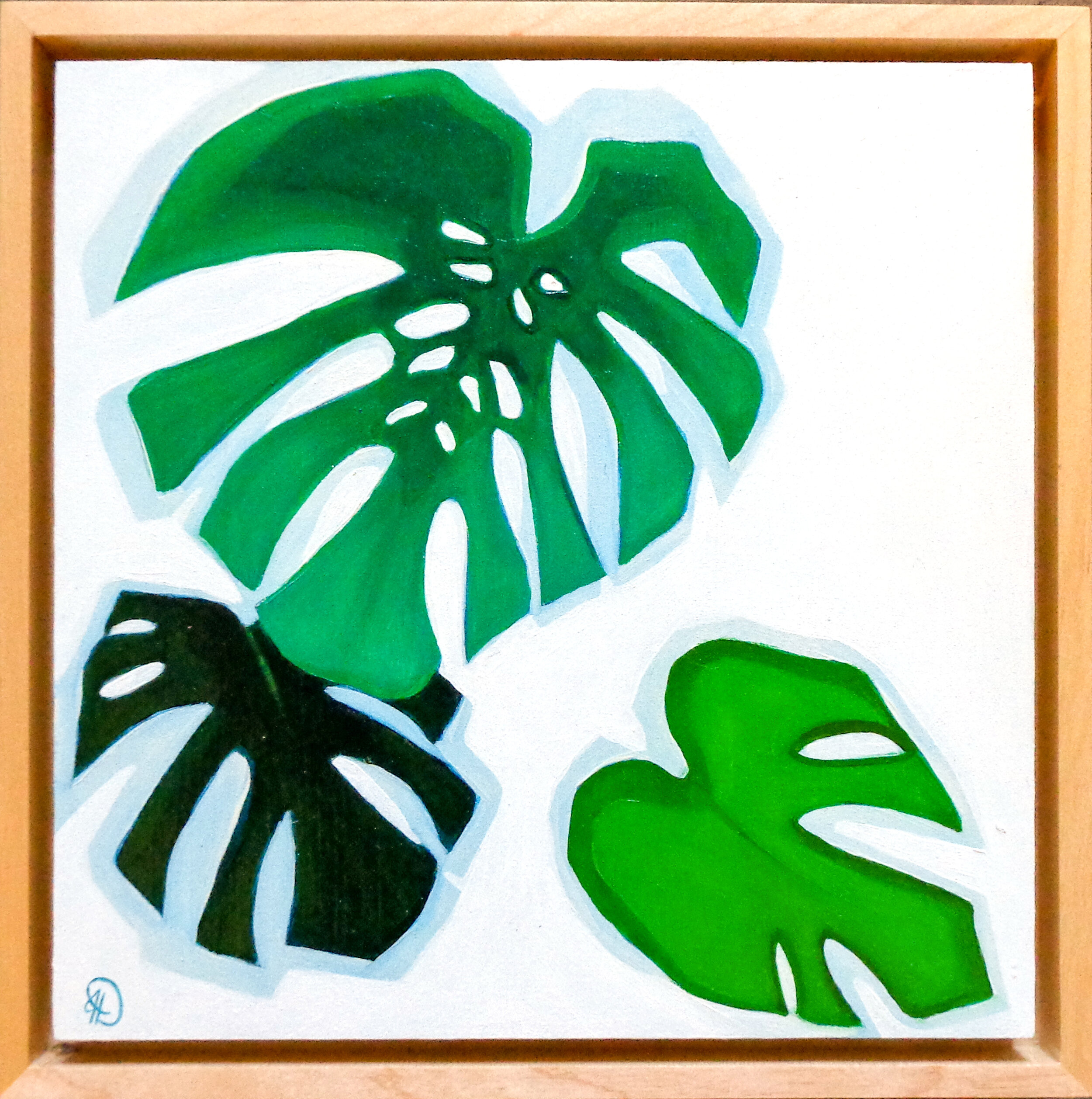 "Monstera Study - 8"" x 8"" oil on panel, framedSOLD"