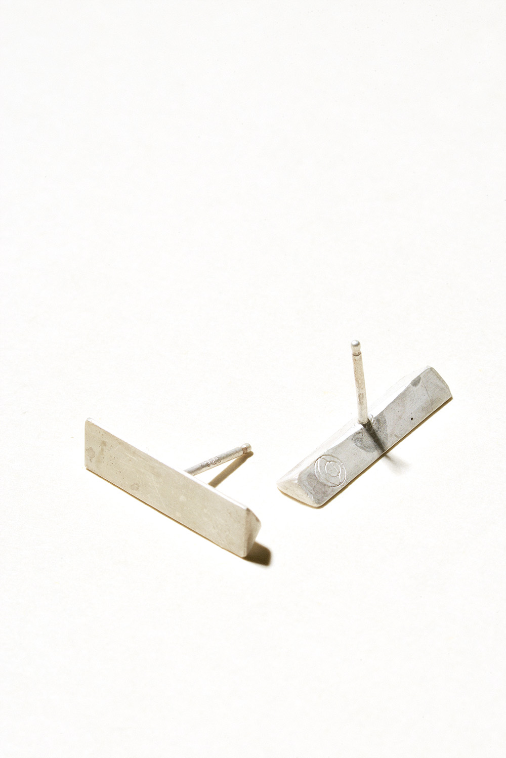 Short Prism Earrings - 20mm x 5mmSterling Silver, Raw FinishHand Smithed$50
