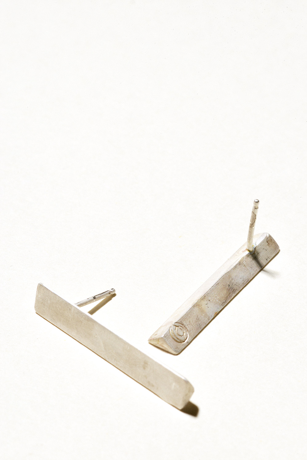Long Prism Earrings - 30mm x 5mmSterling Silver, Raw FinishHand Smithed$75