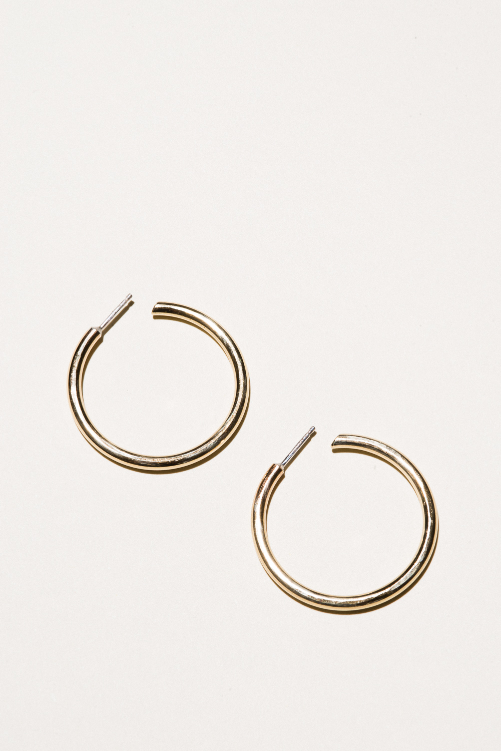 Large Brass Classic Hoops - 1.3 in diameterJewelers Brass, Lacquer FinishHand Smithed$60