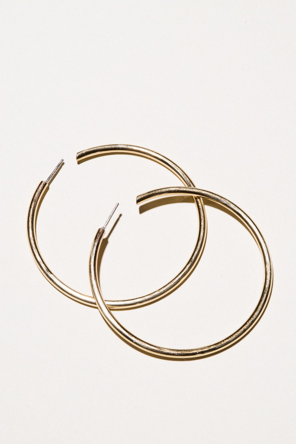 XL Brass Classic Hoops - 2.2 in diameterJewelers Brass, Lacquer FinishHand Smithed$70