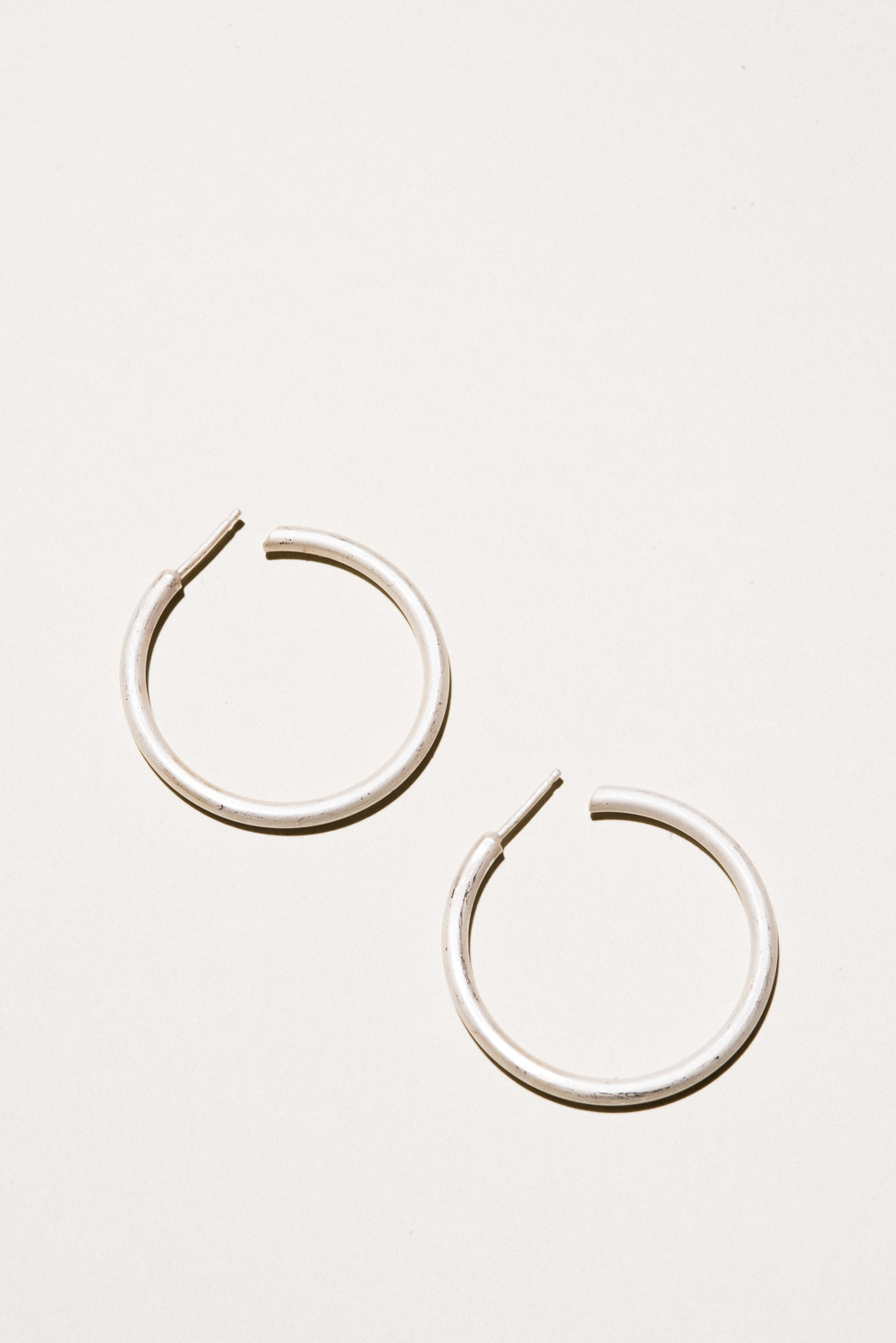 Large Silver Classic Hoops - 1.3 in diameterSterling Silver, Raw FinishHand Smithed$120