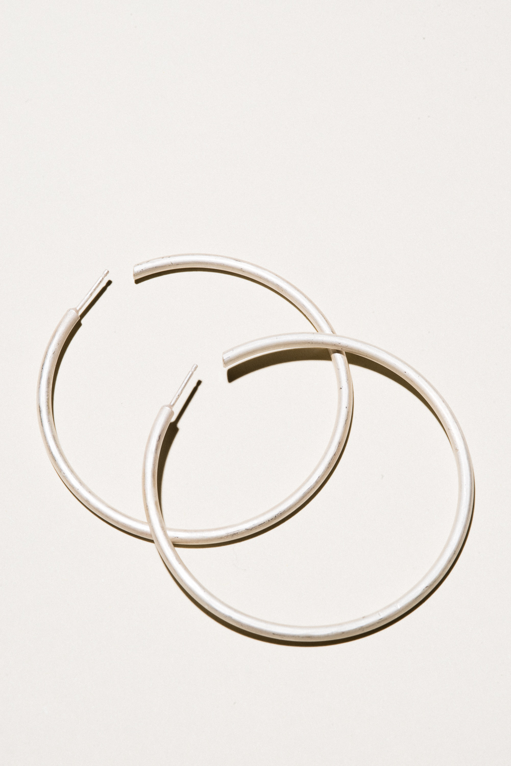 XL Silver Classic Hoops - 2.2 in diameterSterling Silver, Raw FinishHand Smithed$150