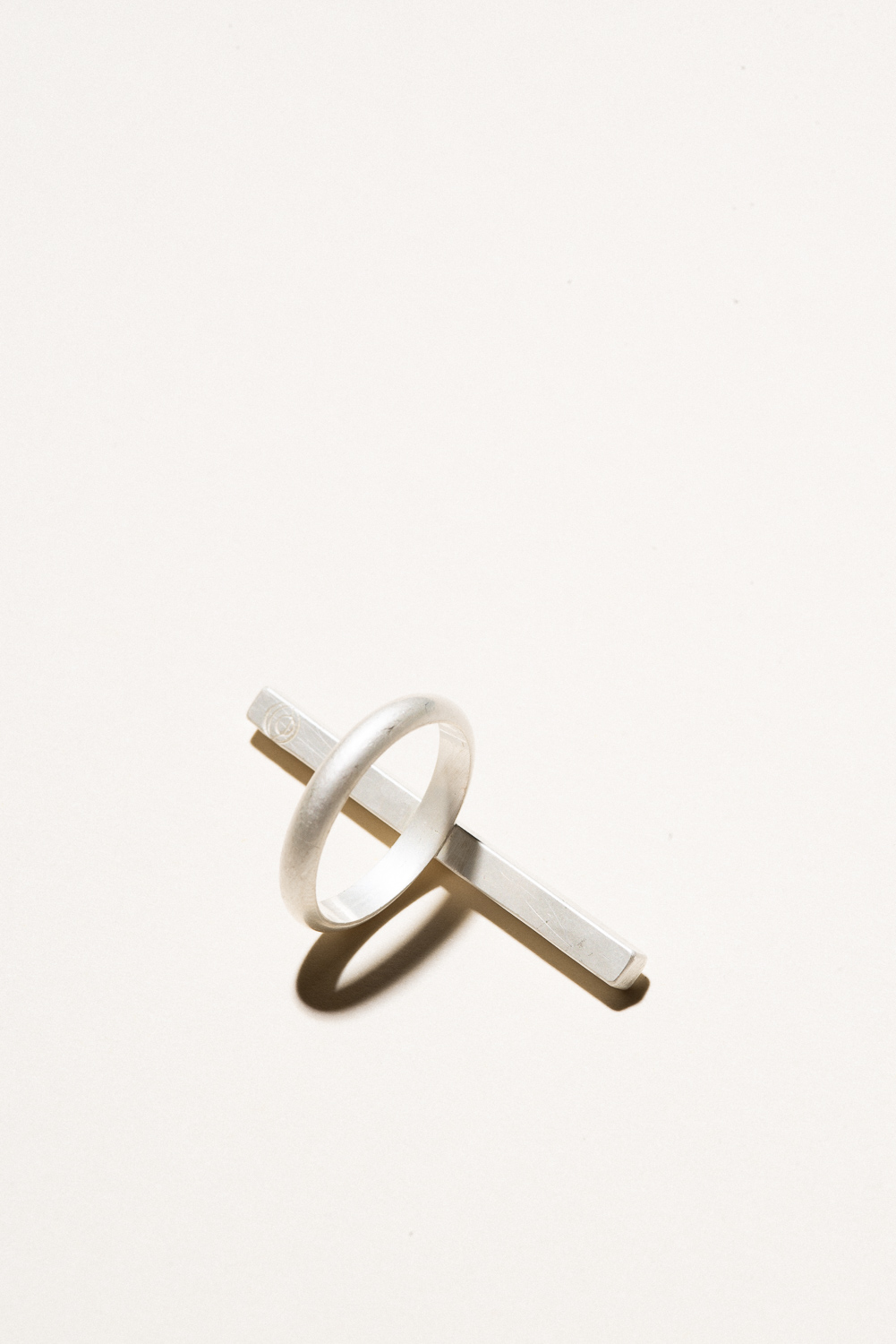 One Finger Bar Ring - 3mm wide bar and shankSterling Silver, Raw FinishHand Smithed$125