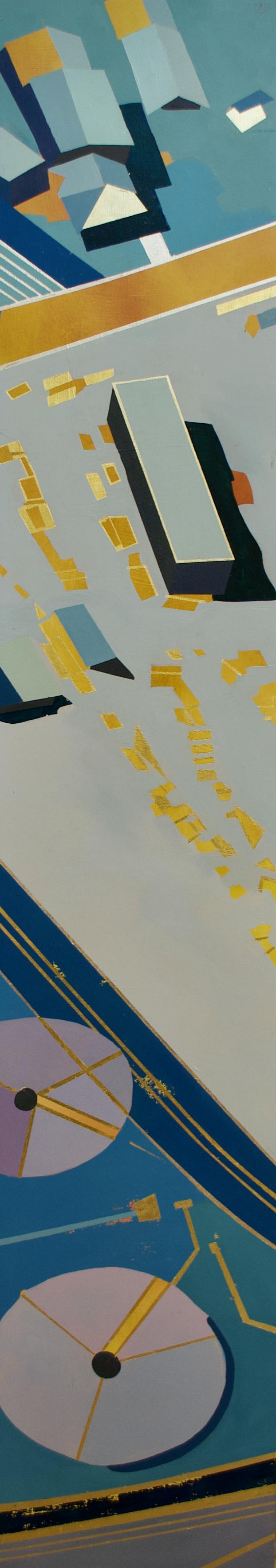 "Wonderwheel #2 - 55 "" x 10"" oil and gold leaf on panel$1700"