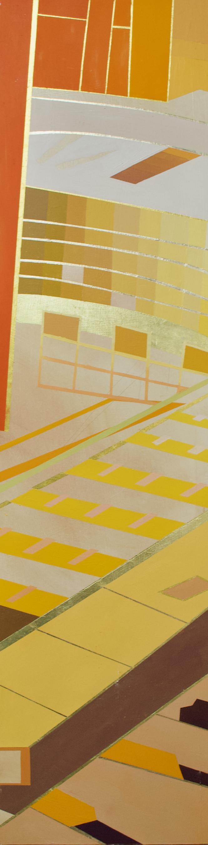 "Wonderwheel #27 - 40"" x 10"" oil and gold leaf on panel$1300"