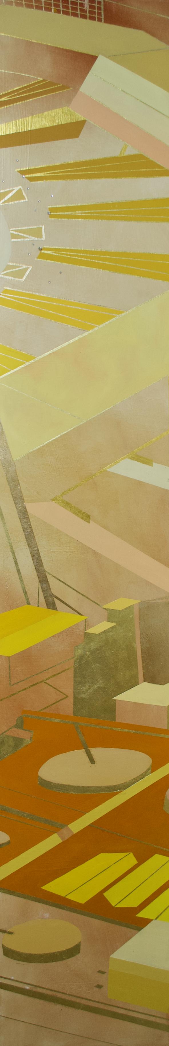 "Wonderwheel #29 - 60"" x 10"" oil and gold leaf on panel$1950"