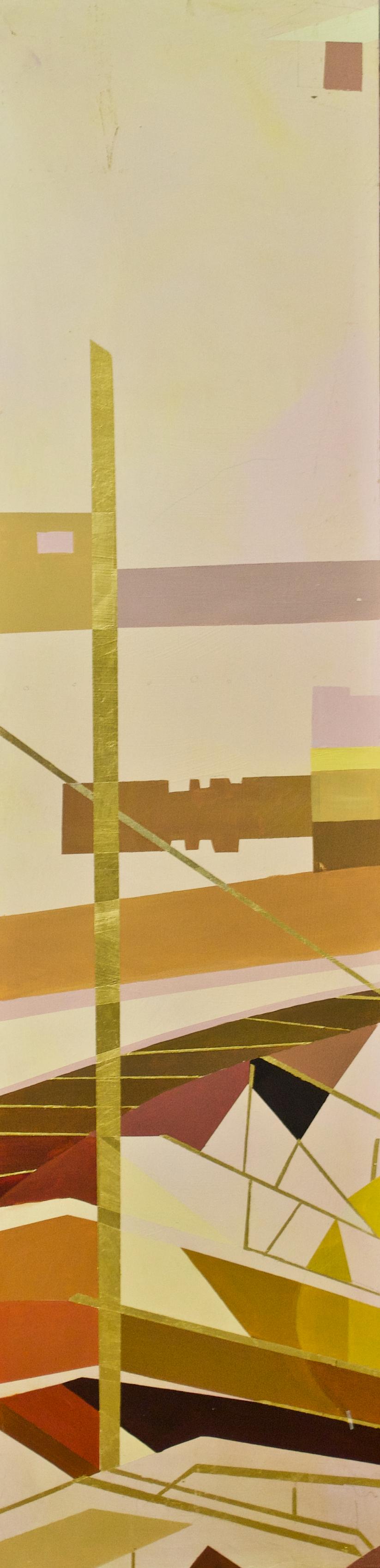 "Wonderwheel #35 - 40"" x 10"" oil and gold leaf on panel$1300"