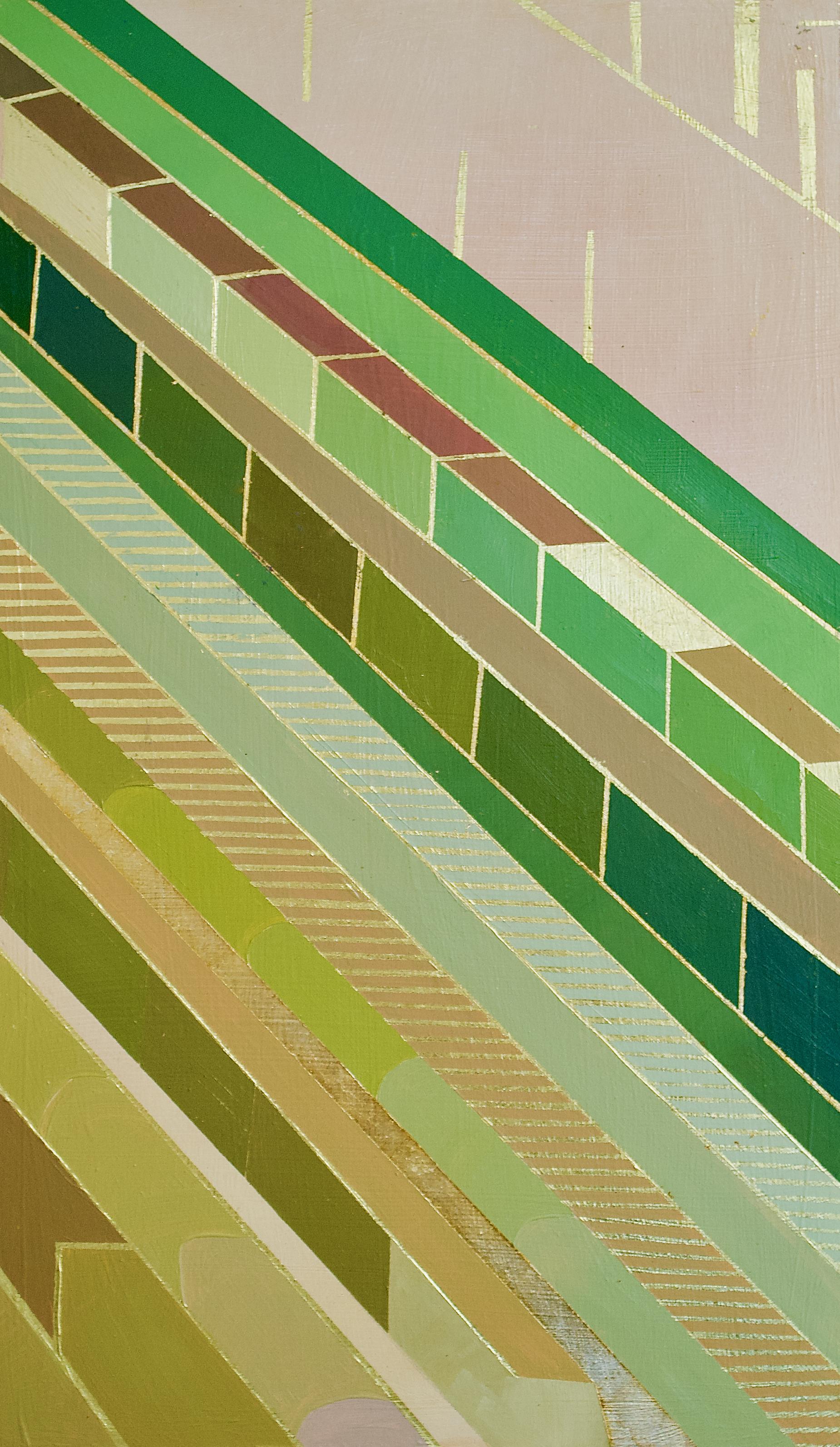 "Wonderwheel #44 - 17"" x 10"" oil and gold leaf on panel$550"