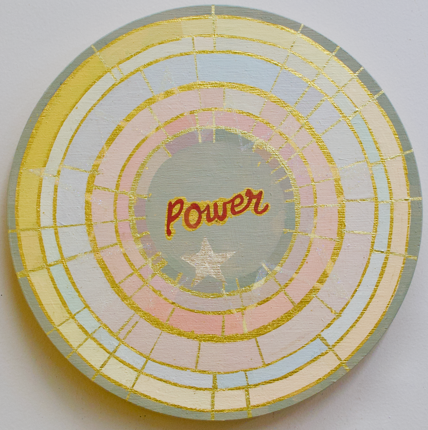 """Power - 10"""" oil and gold leaf on panel$350   SOLD"""