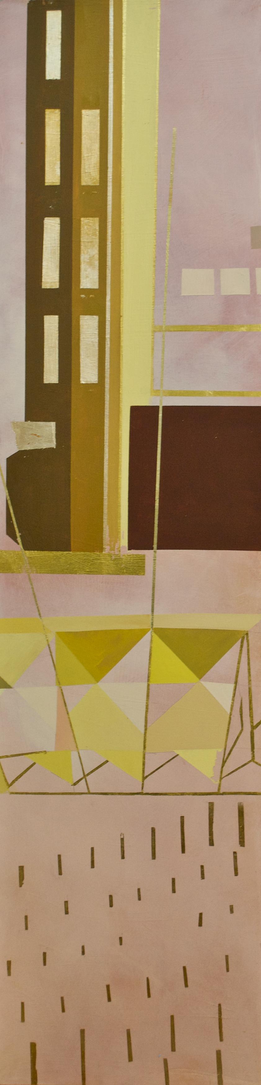 "Wonderwheel #38 - 40"" x 10"" oil and gold leaf on panel$1300"