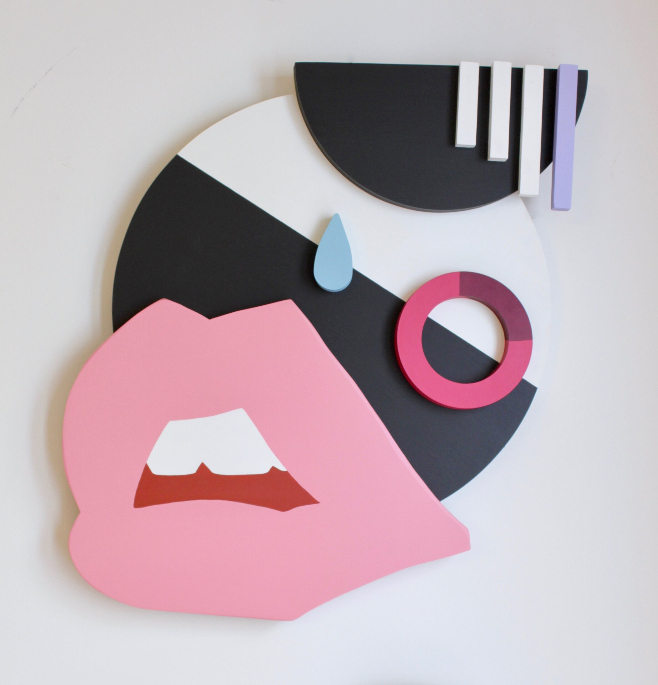 """Face No. 4 - 22.5"""" x 20"""" x 2.75"""" wood assemblage, latex paint on wood$1400"""