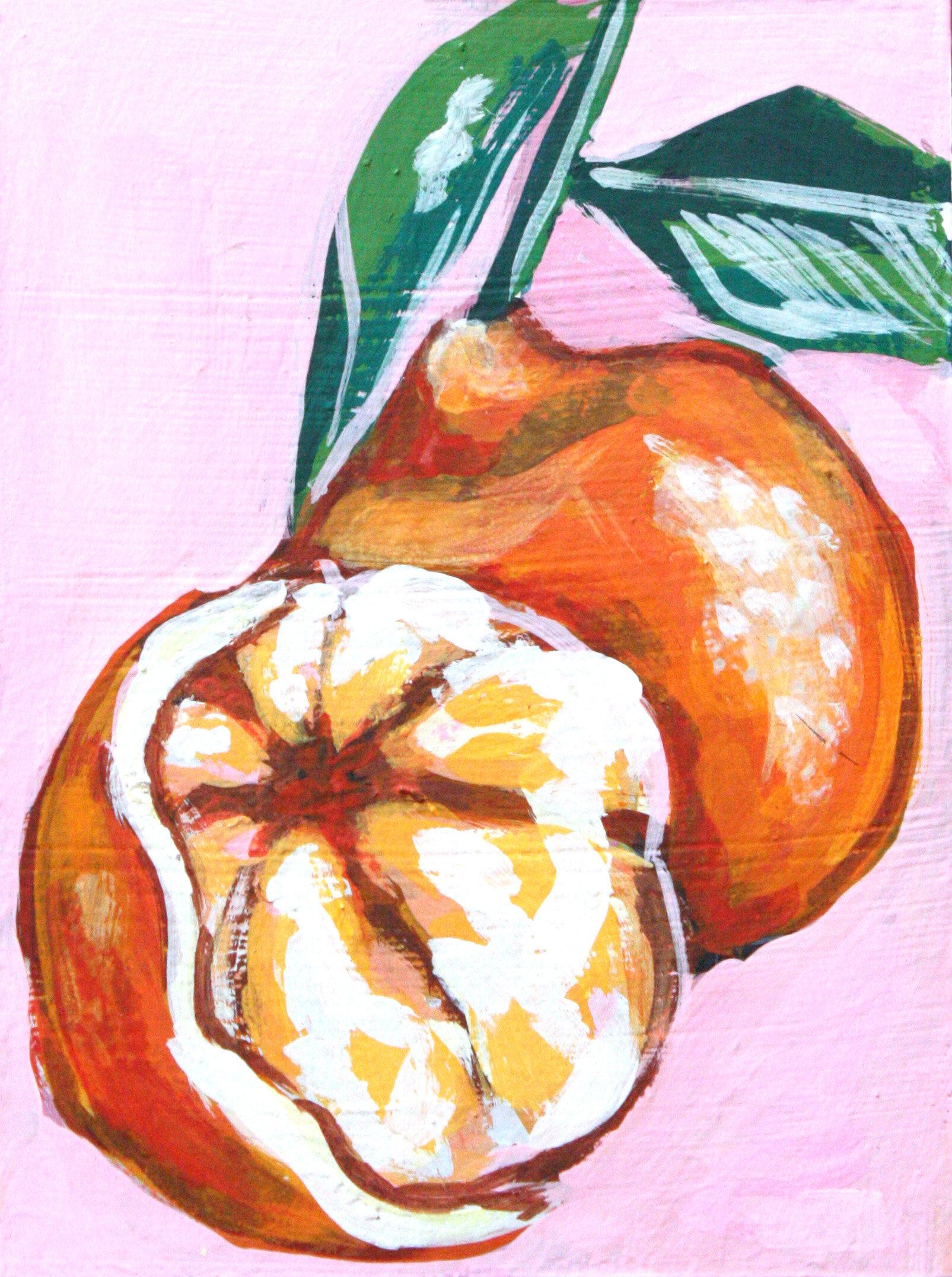 "Mandarin Study 5 - 6"" x 8"" gouache on panel$145"