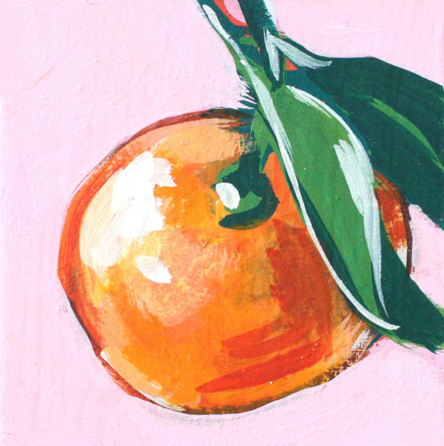 "Mandarin Study 3 - 4"" x 4"" gouache on panel$95"