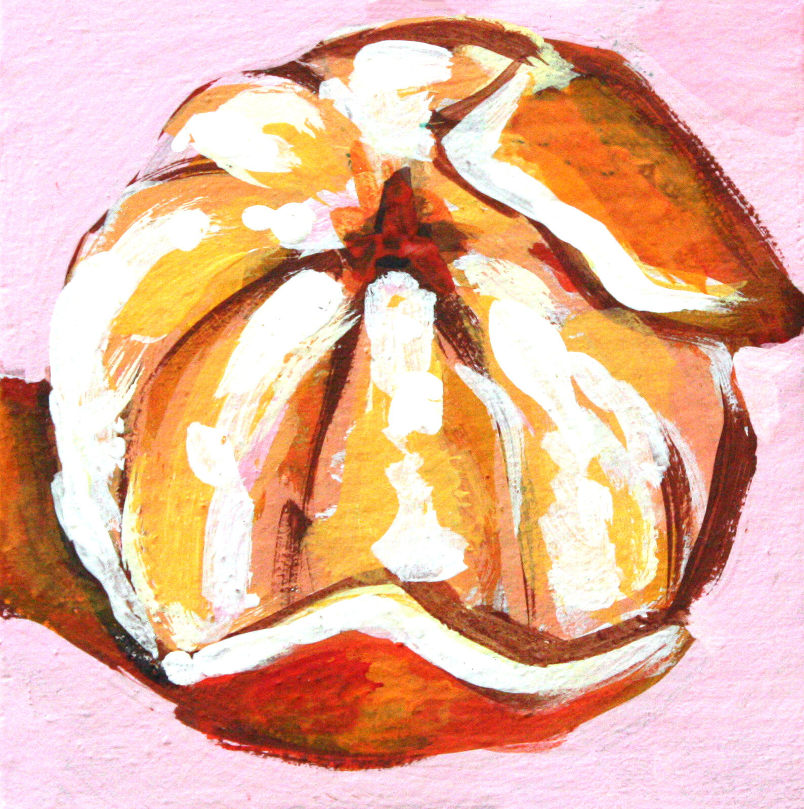 "Mandarin Study 4 - 4"" x 4"" gouache on panel$95"