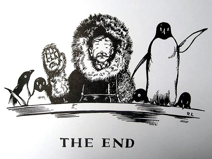 Robert Lawson's illustration from  Mr. Popper's Penguins  - 1938