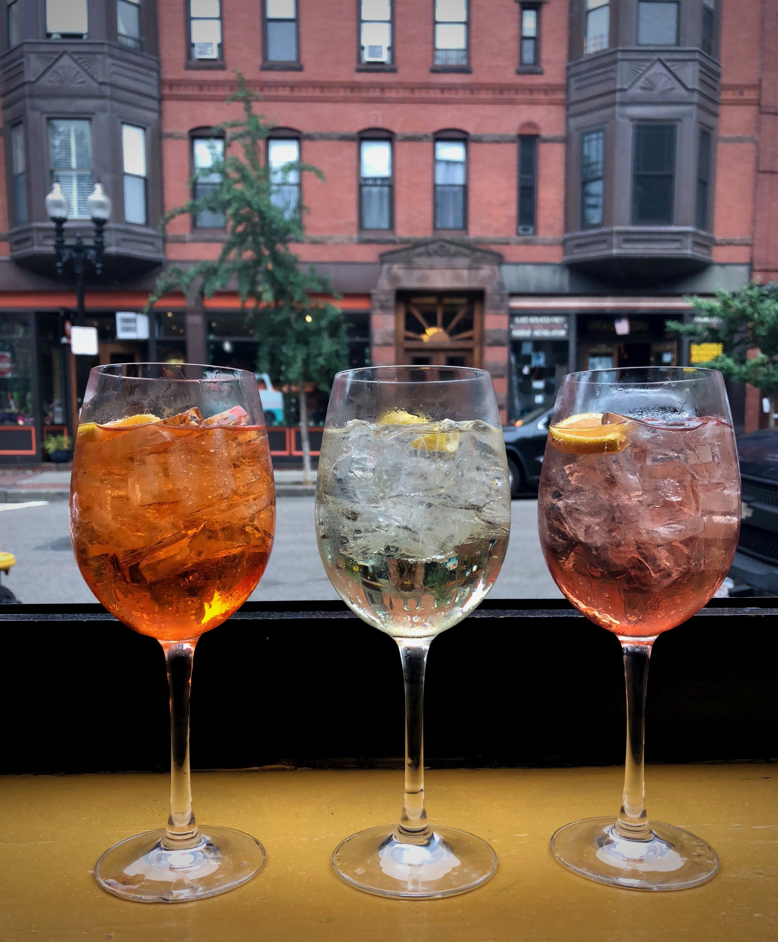 From right, the Italicus Spritz, Alessio Spritz, and Aperol Spritz