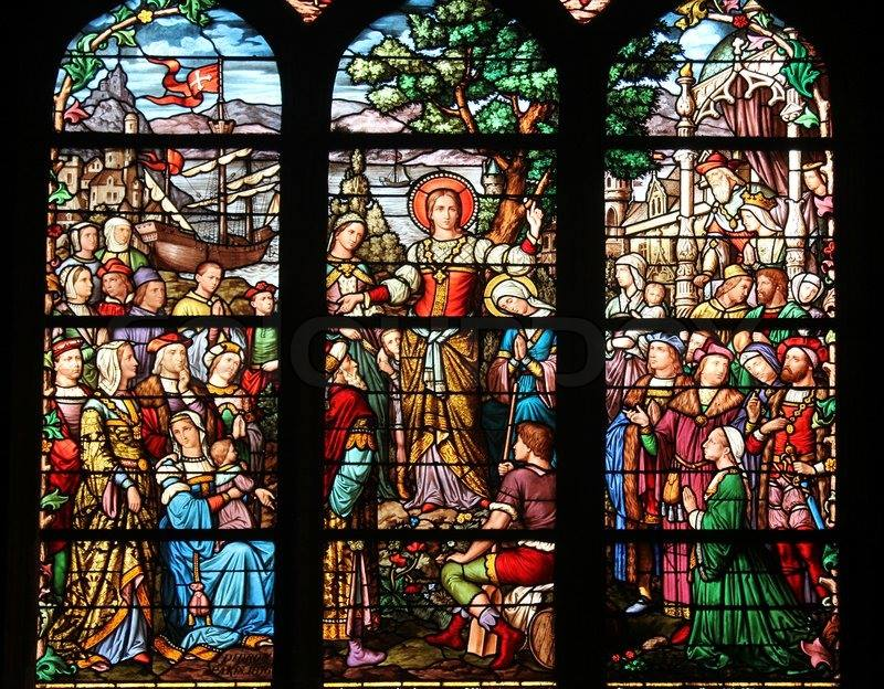 Detail of Magdalene preaching, window in St Severin, Paris.