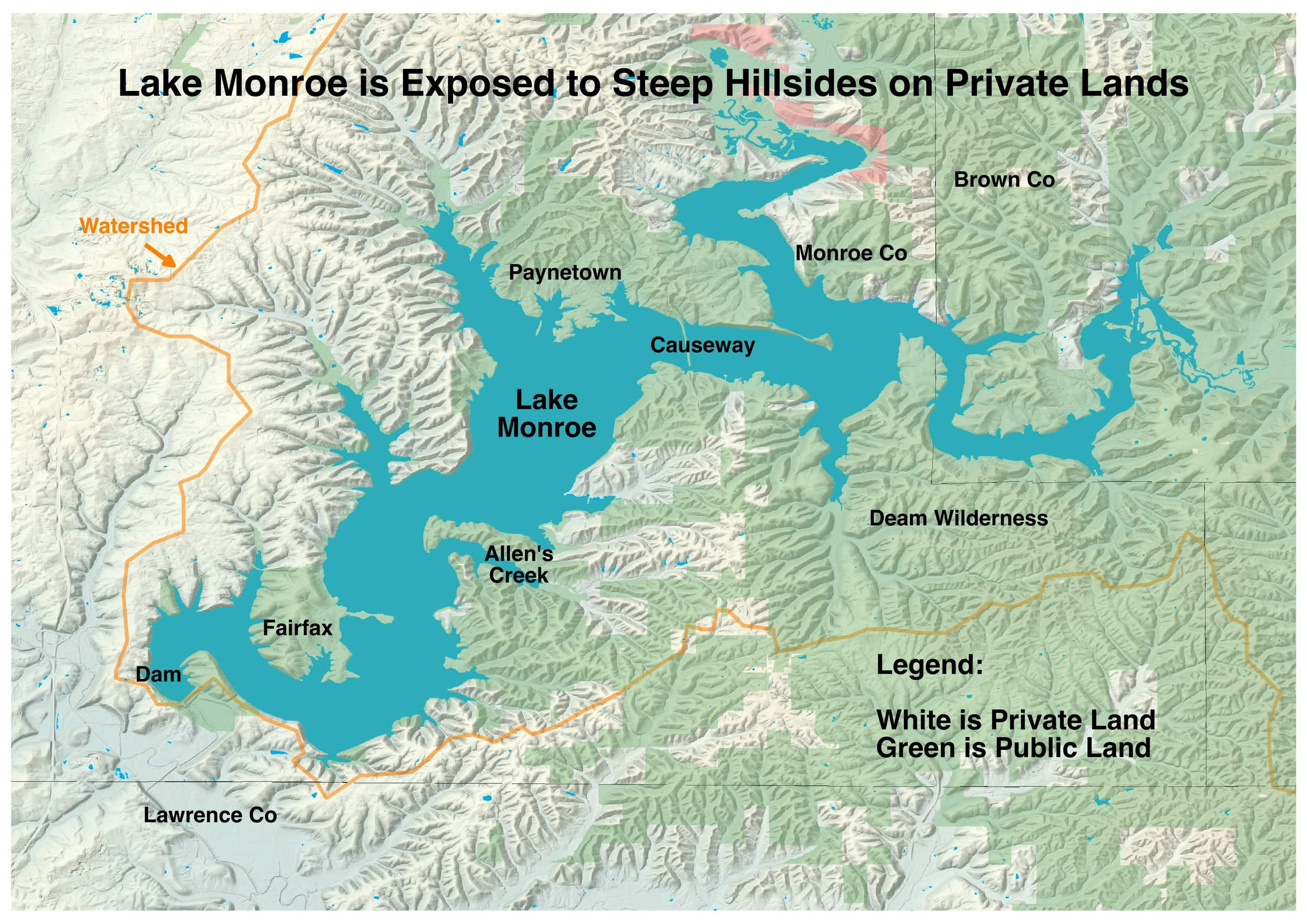 A map showing private vs. public areas in the watershed.
